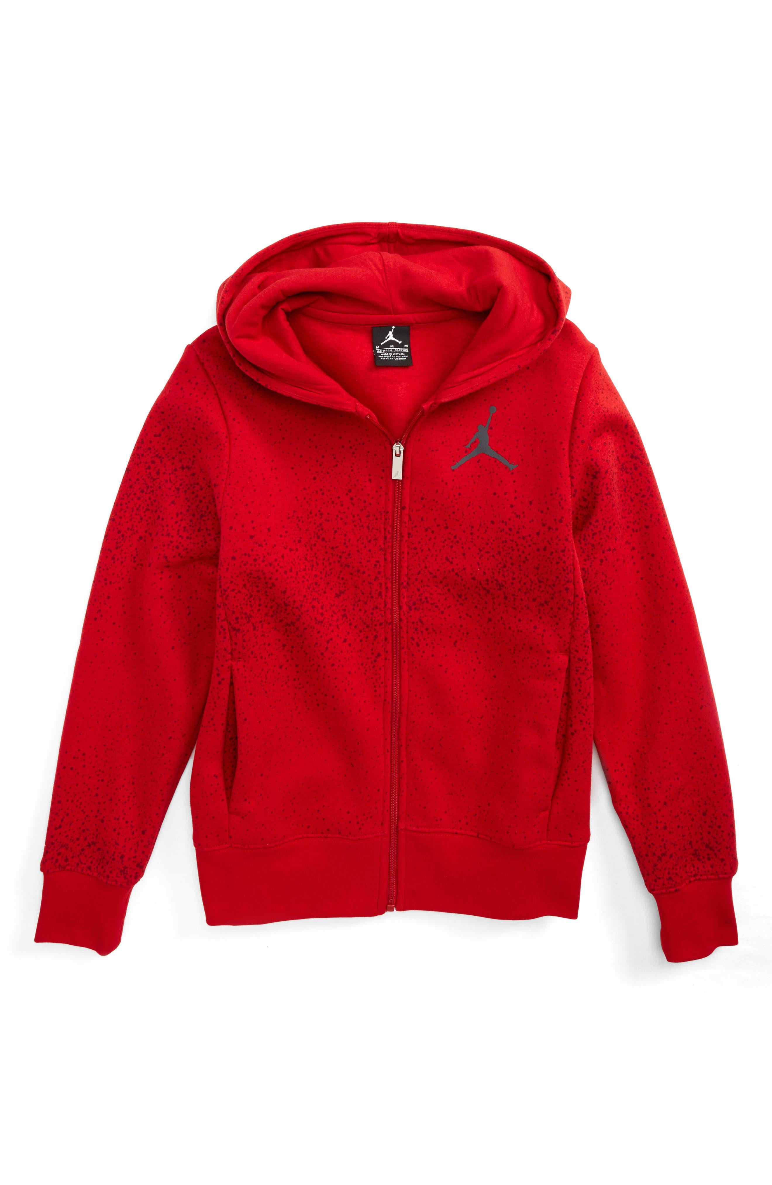 Jordan Flight Zip Hoodie,                         Main,                         color, Gym Red