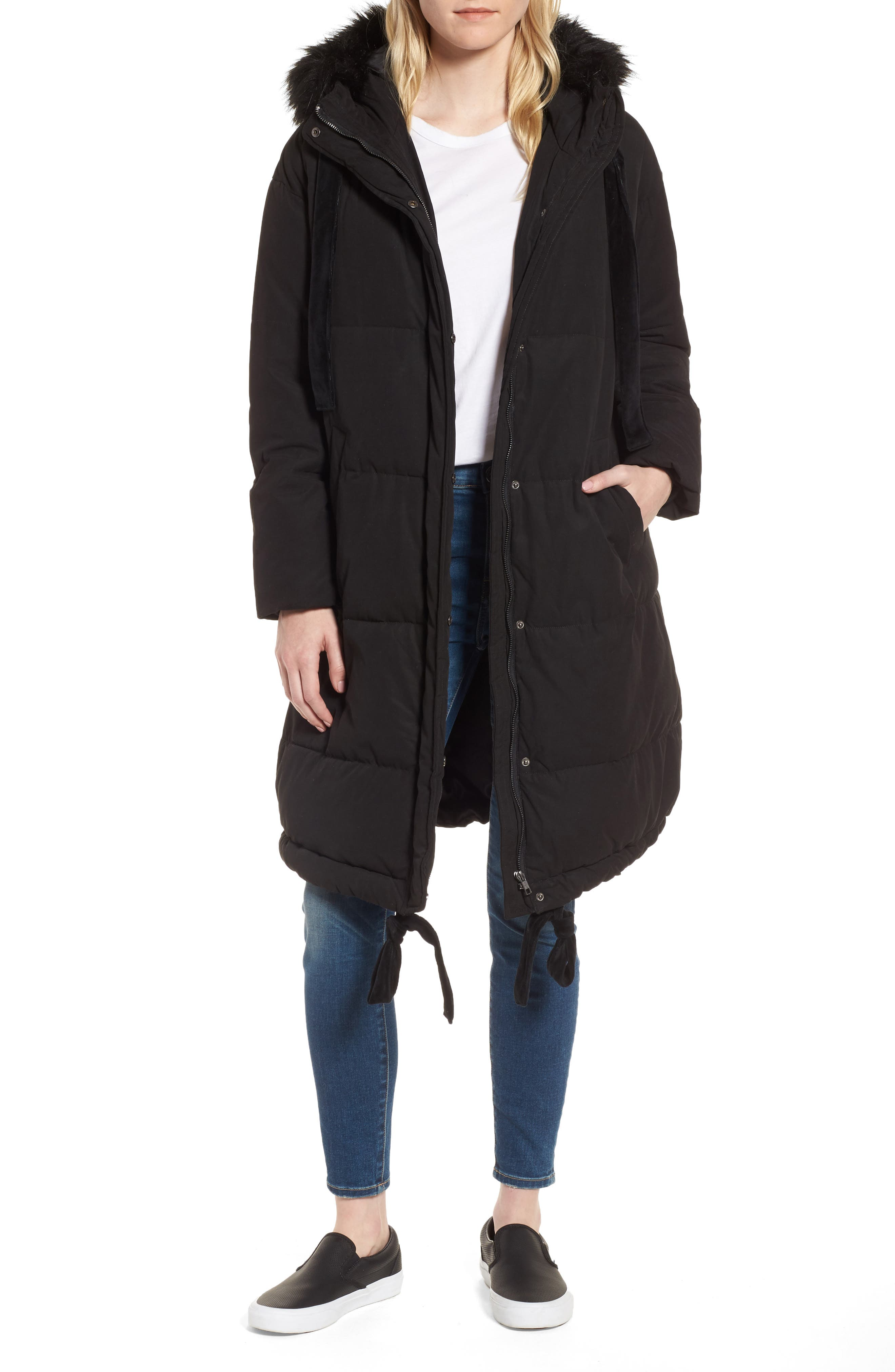 LOST INK Quilted Swing Coat with Faux Fur Trim