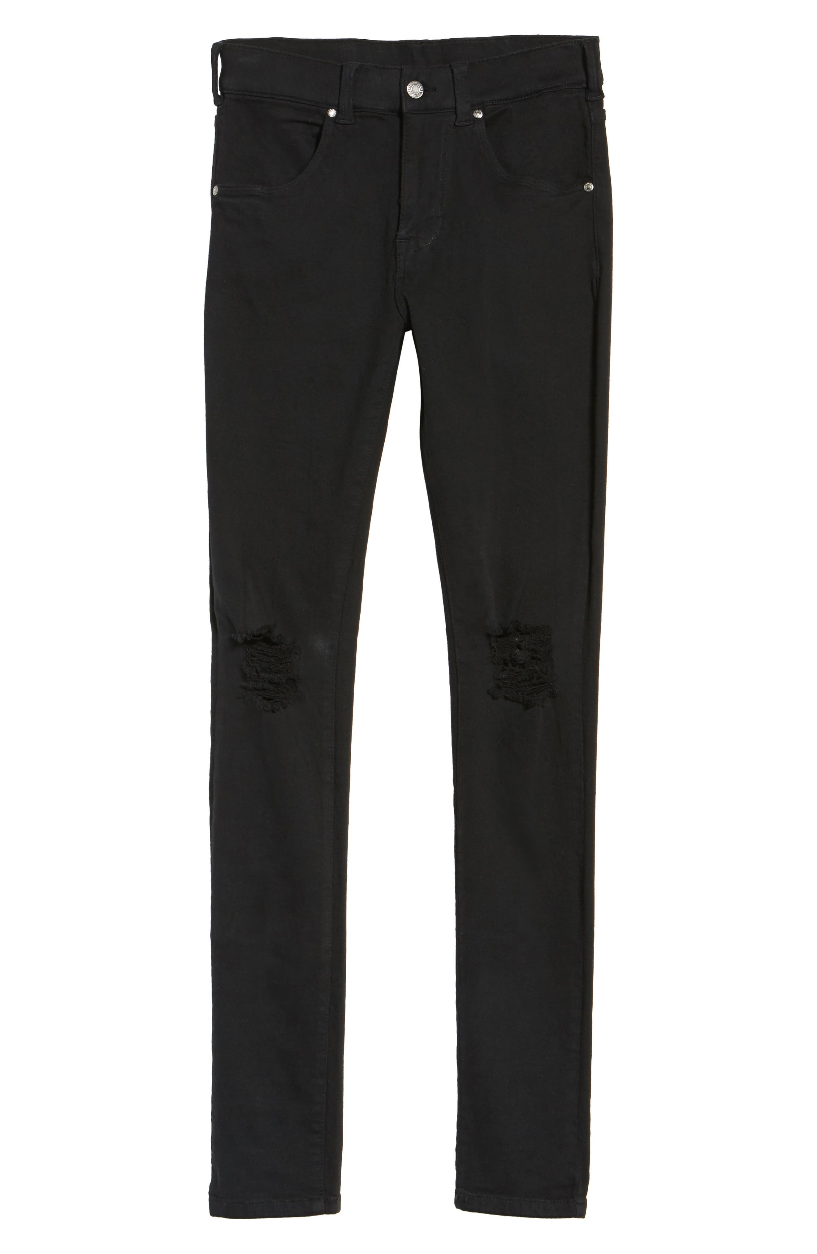 Leroy Slim Fit Jeans,                             Alternate thumbnail 6, color,                             Black Ripped Knees