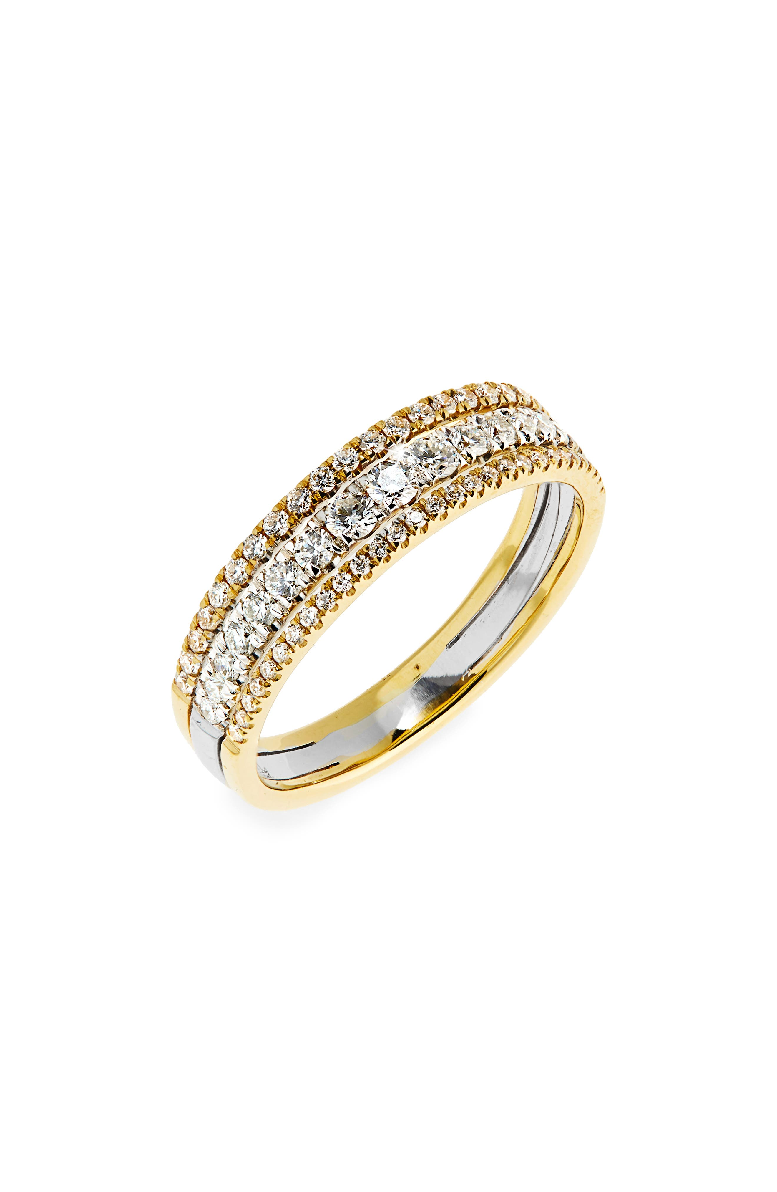 Diamond Stack Ring,                         Main,                         color, Yellow Gold/ White Gold