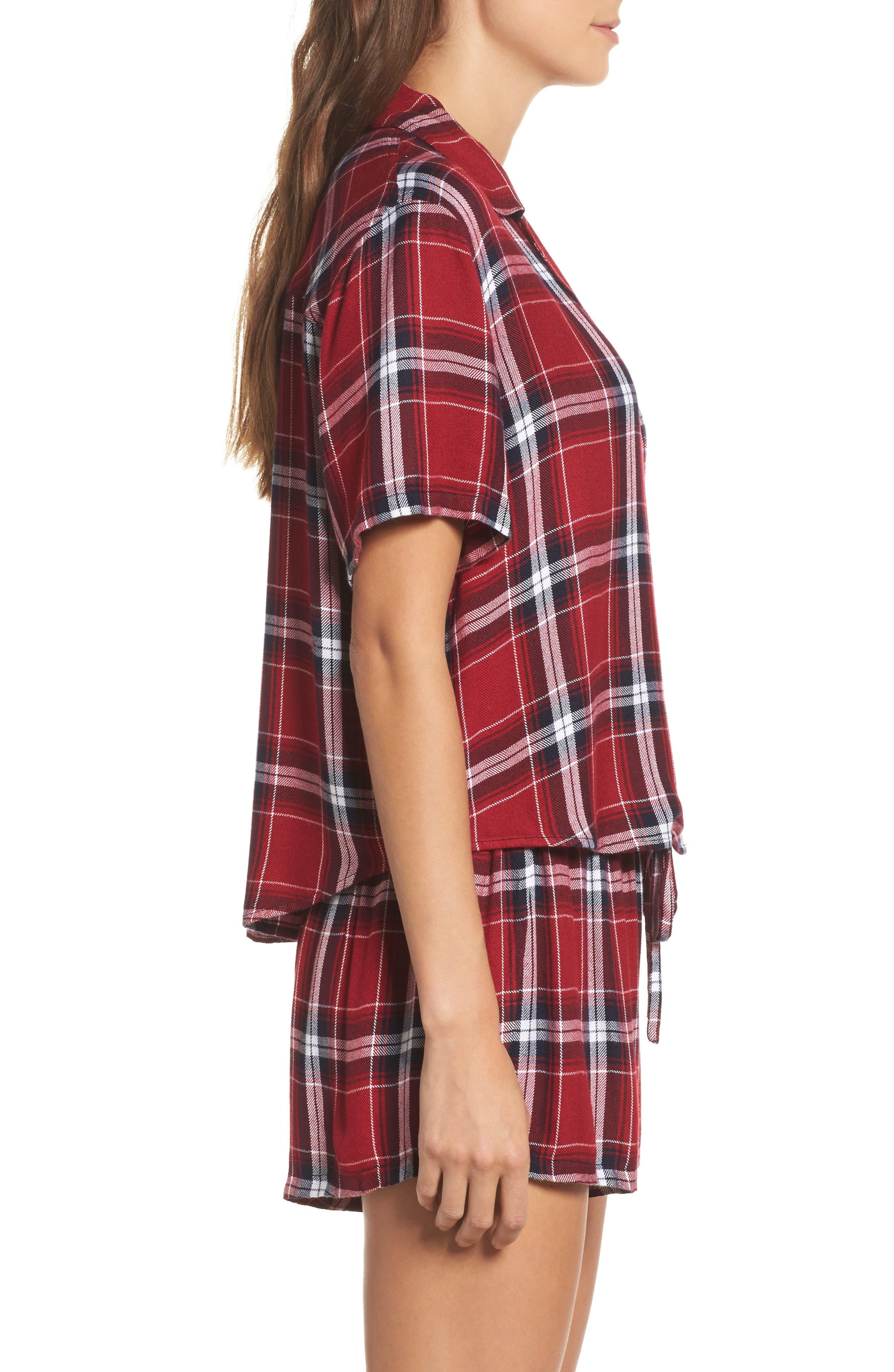 Plaid Short Pajamas,                             Alternate thumbnail 3, color,                             Crimson/ Navy