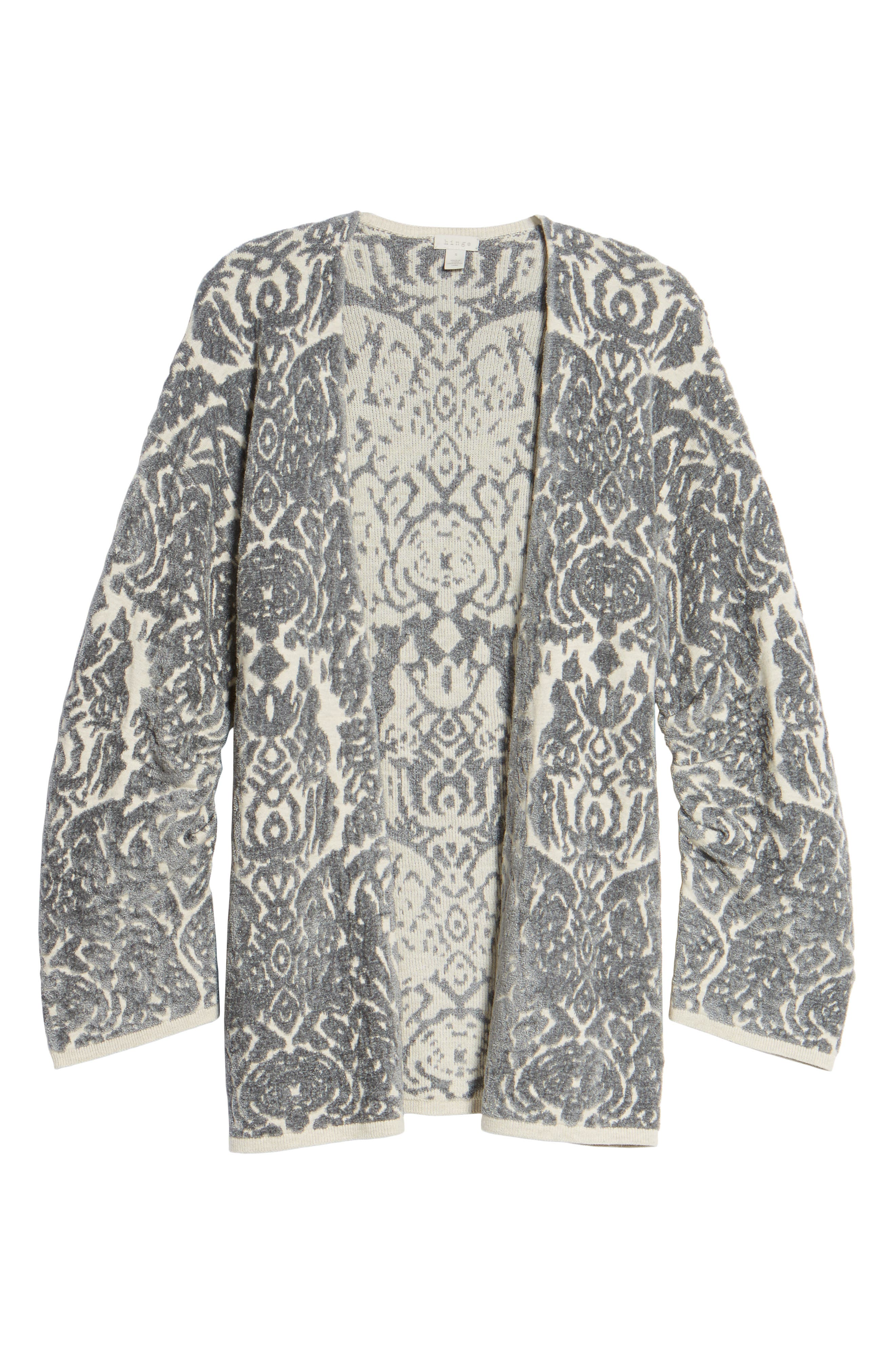 Embroidered Cardigan,                             Alternate thumbnail 6, color,                             Beige Oatmeal Heather Combo