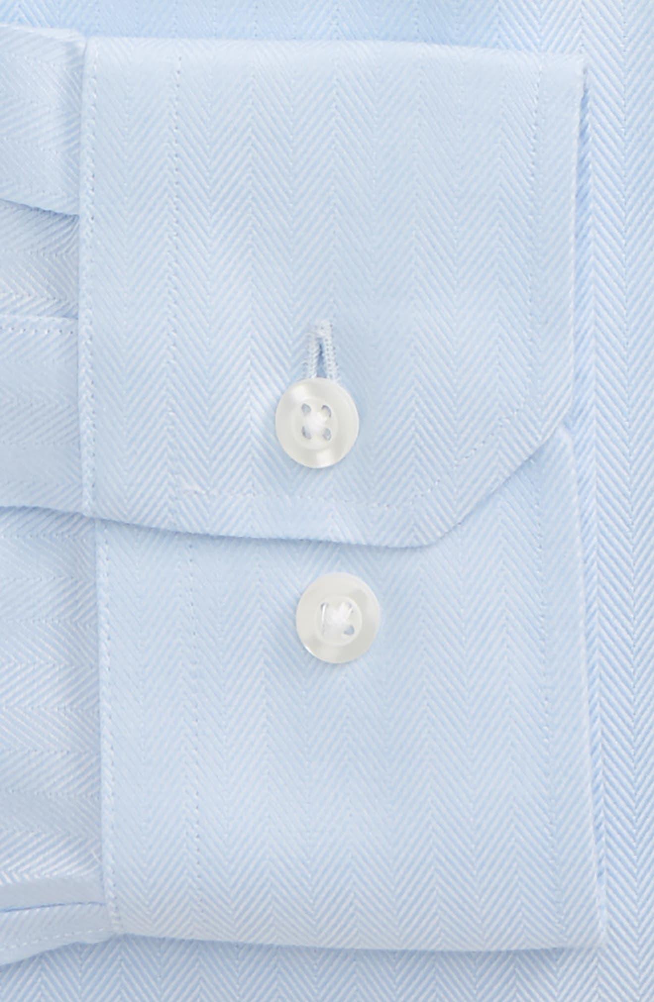 Standard Fit Herringbone Dress Shirt,                             Alternate thumbnail 2, color,                             Light Blue