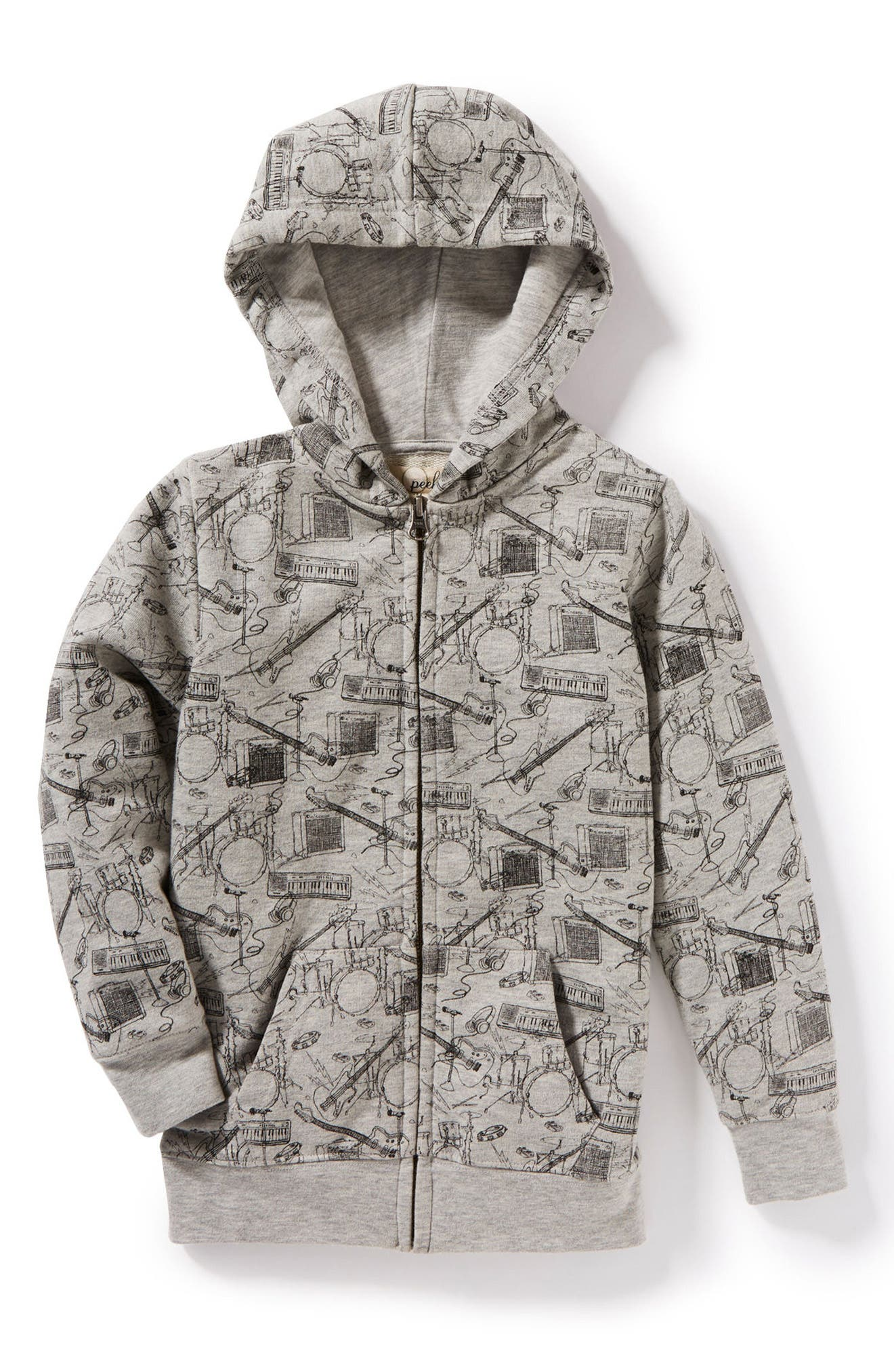 Music Graphic Zip Hoodie,                             Main thumbnail 1, color,                             Heather Grey