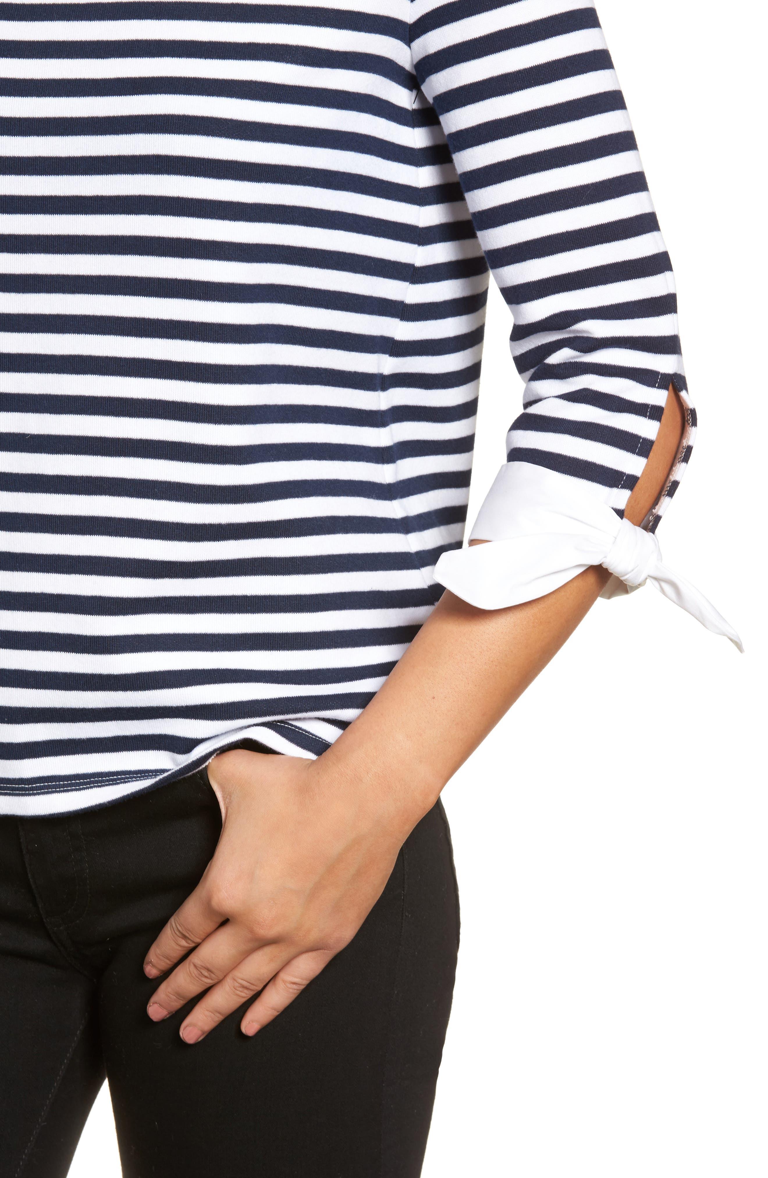 Poplin Tie Cuff Knit Top,                             Alternate thumbnail 4, color,                             Navy- White Stripe