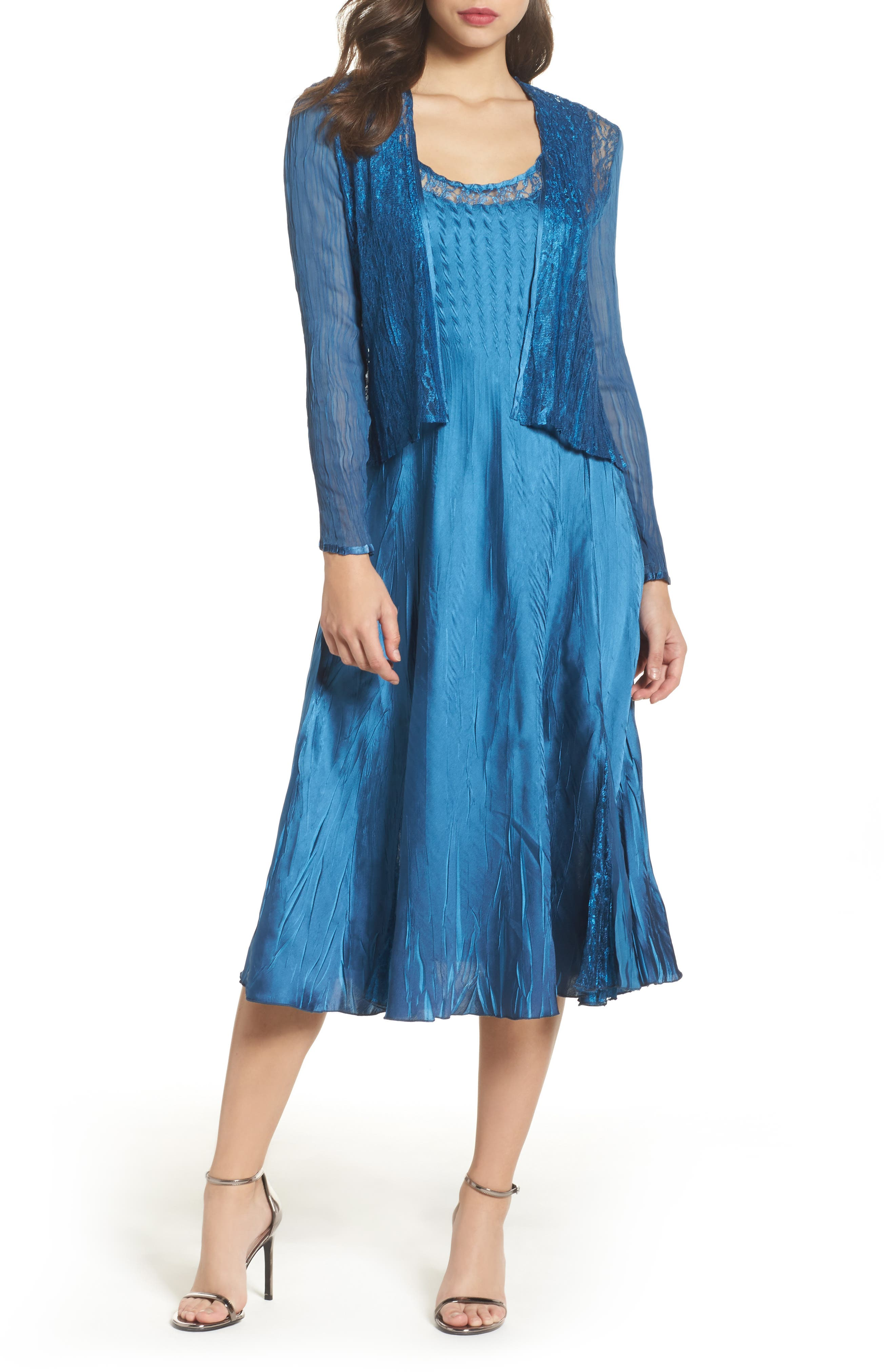 Lace & Charmeuse Dress with Jacket,                             Main thumbnail 1, color,                             Blue Dusk Night Ombre