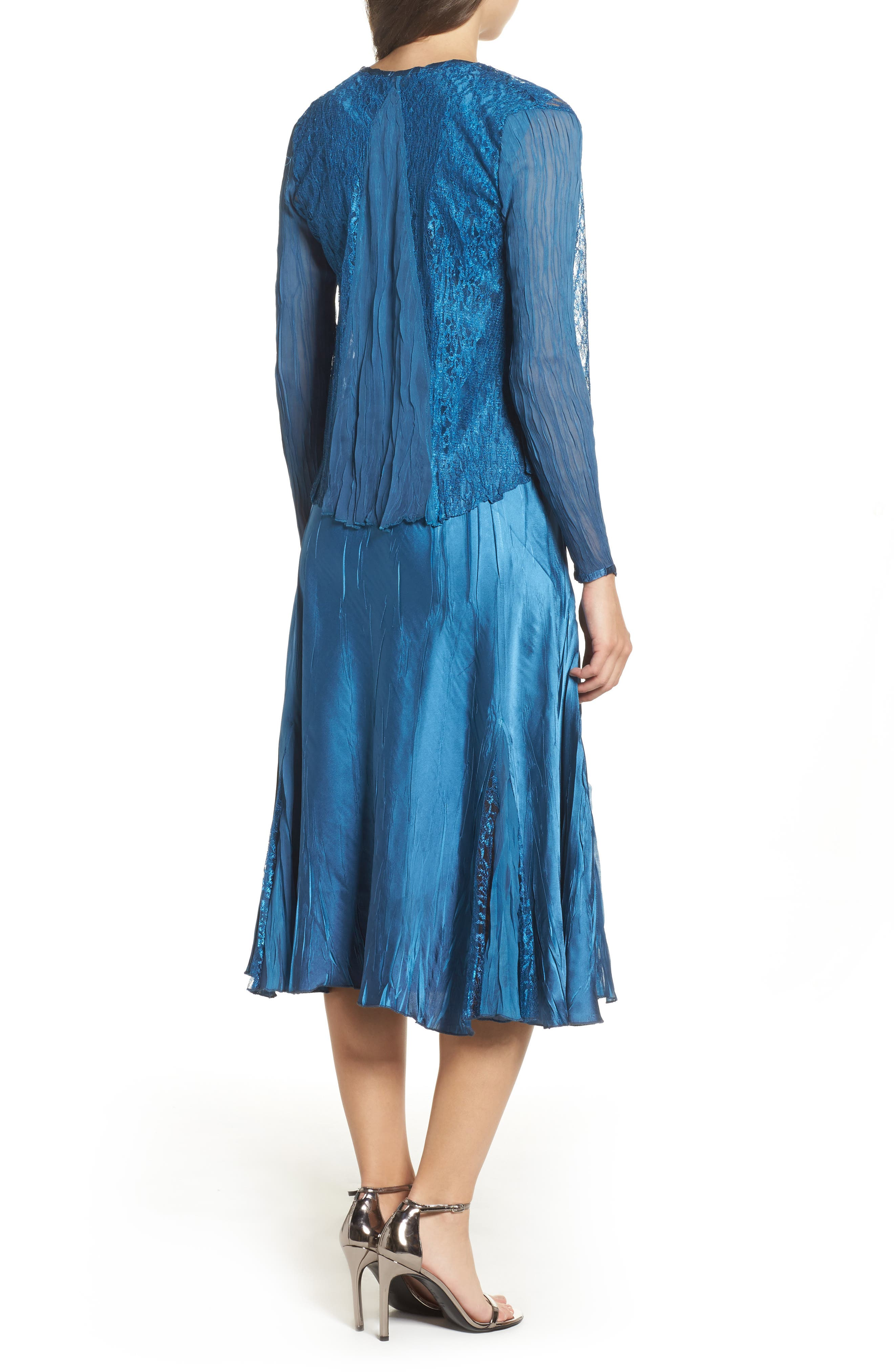 Lace & Charmeuse Dress with Jacket,                             Alternate thumbnail 2, color,                             Blue Dusk Night Ombre