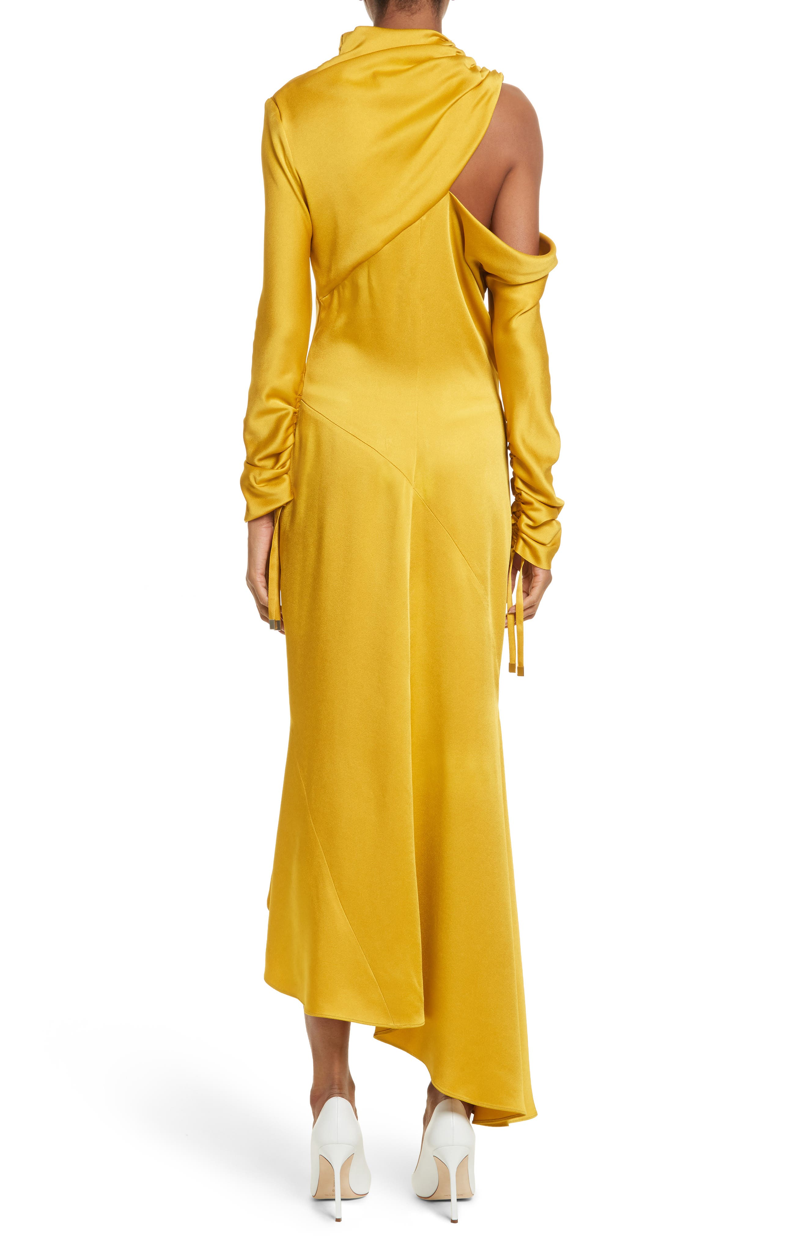 Crepe Back Satin Cold Shoulder Dress,                             Alternate thumbnail 3, color,                             Yellow