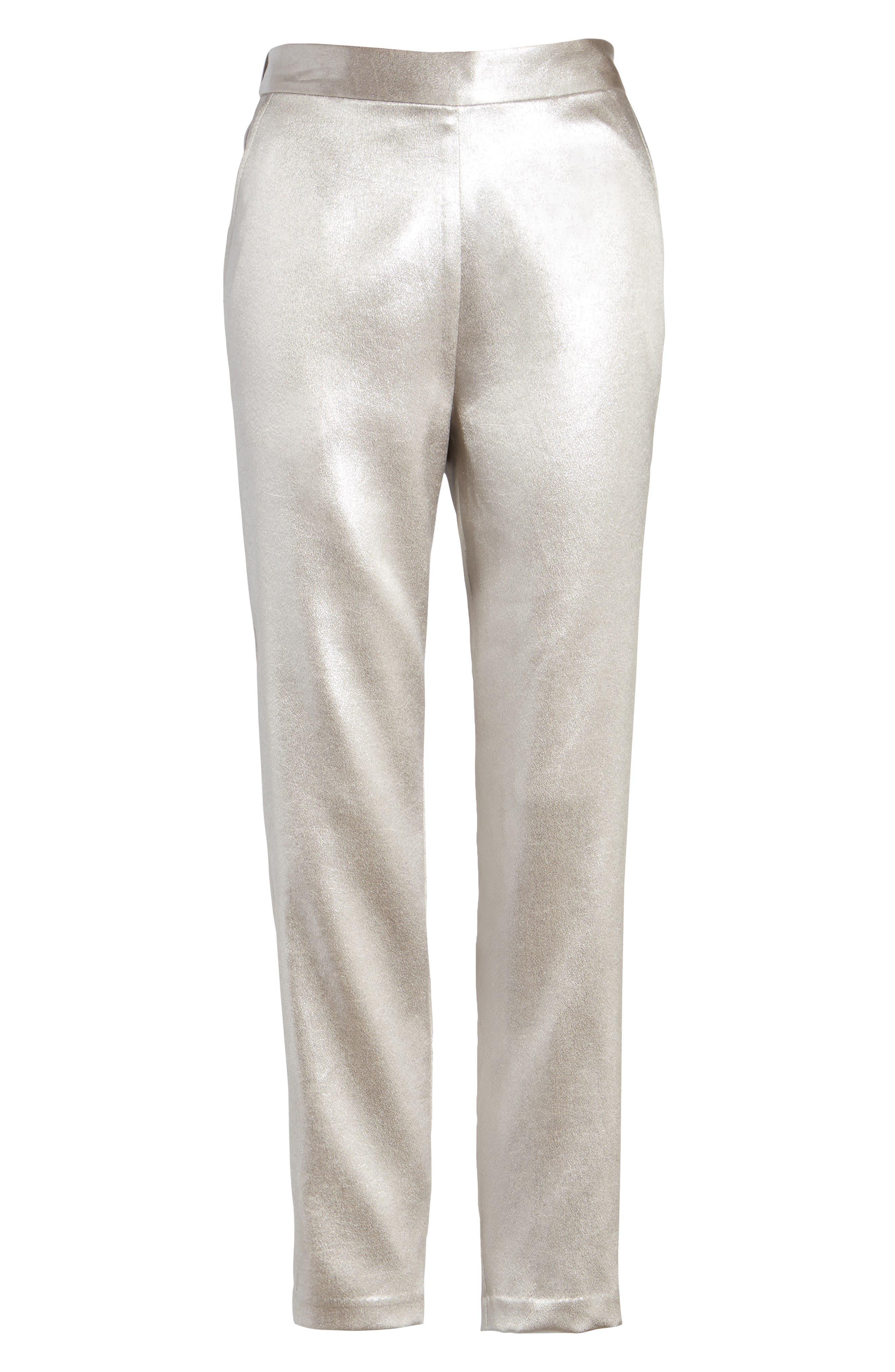 Satin High Waist Ankle Pants,                             Alternate thumbnail 7, color,                             Grey Chateau Metallic
