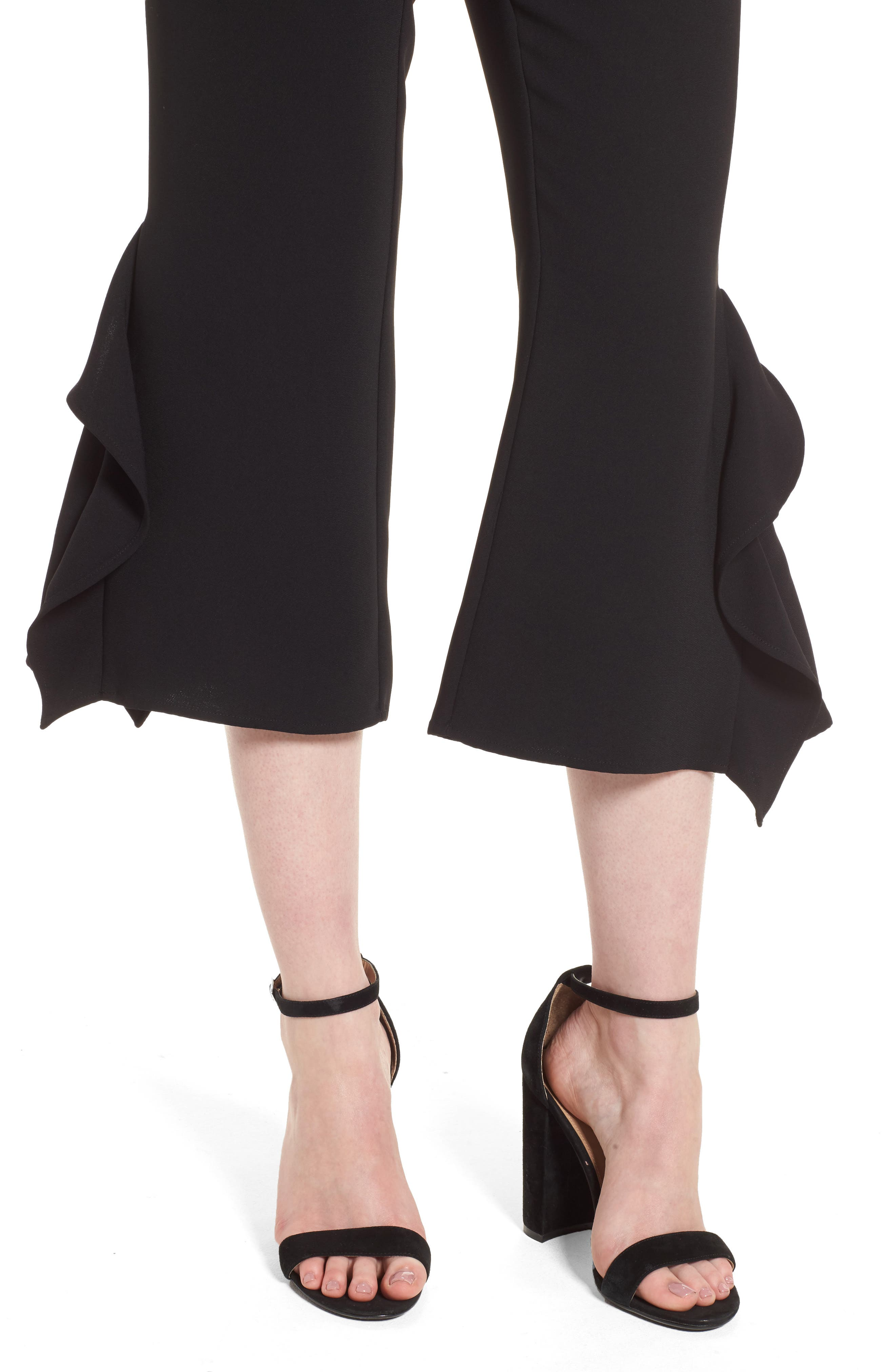 Ruffle Crop Pants,                             Alternate thumbnail 4, color,                             Black