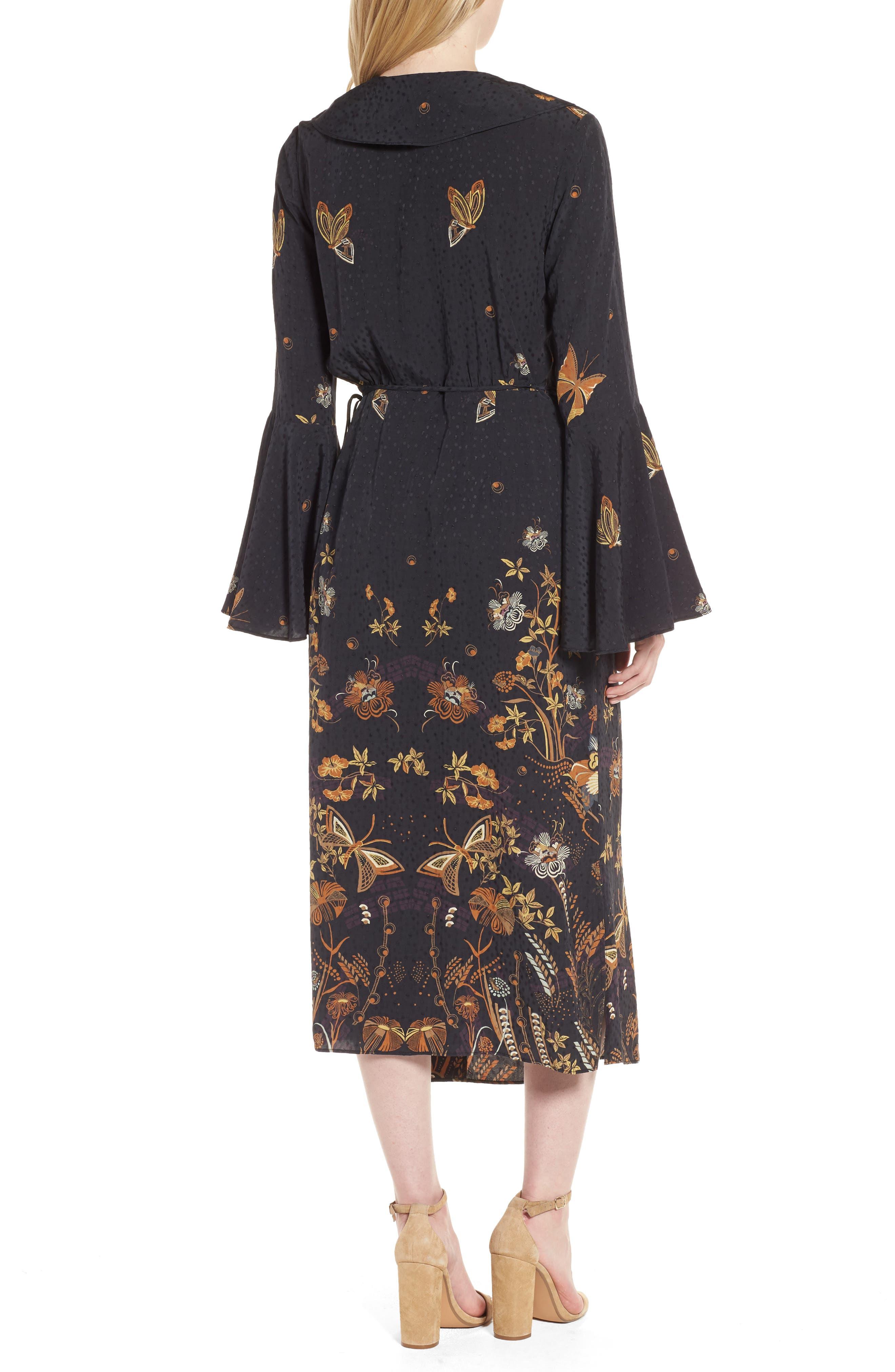 Jacquard Midi Wrap Dress,                             Alternate thumbnail 2, color,                             Black Decorative Scenery Print