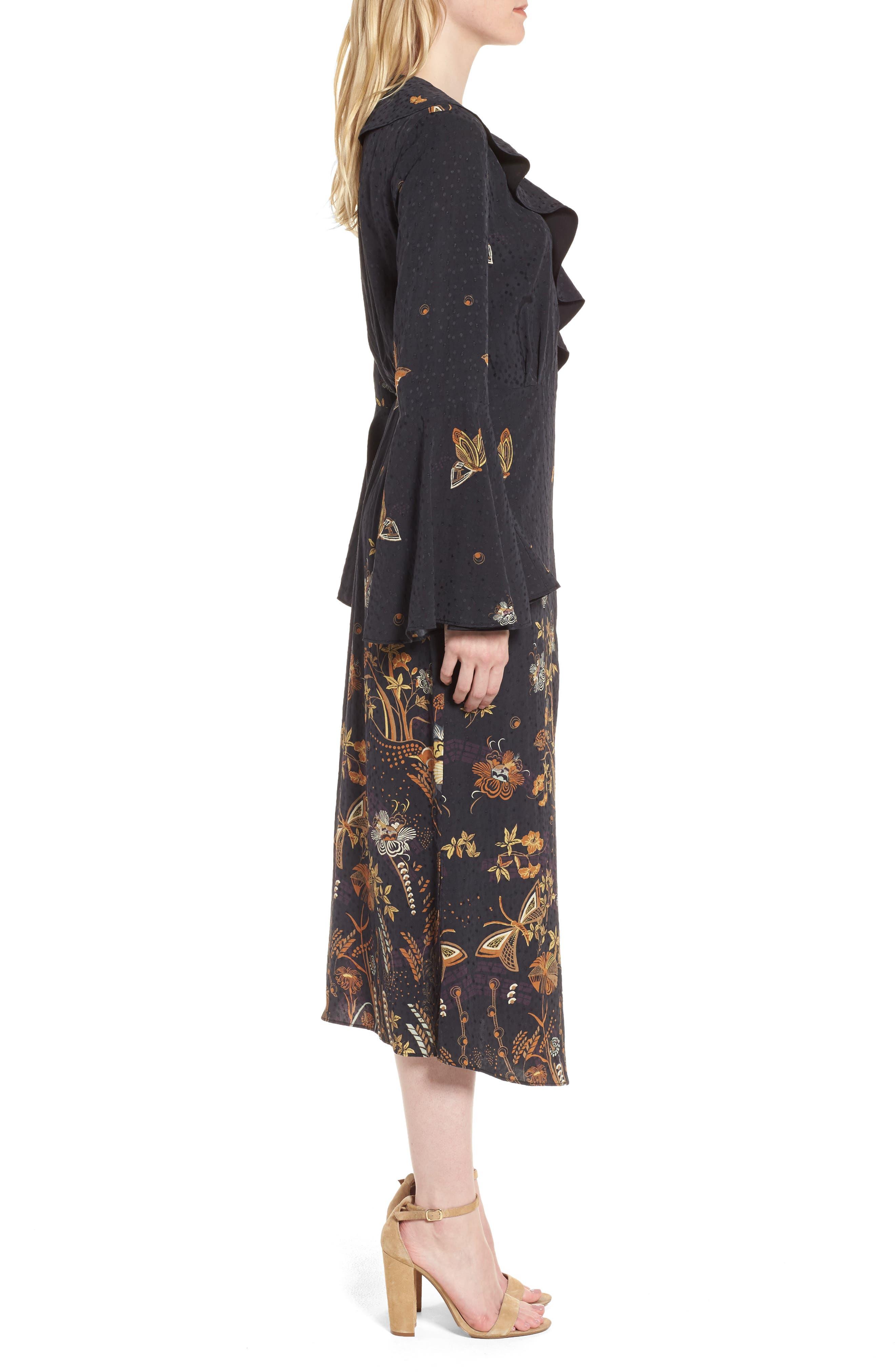 Jacquard Midi Wrap Dress,                             Alternate thumbnail 3, color,                             Black Decorative Scenery Print