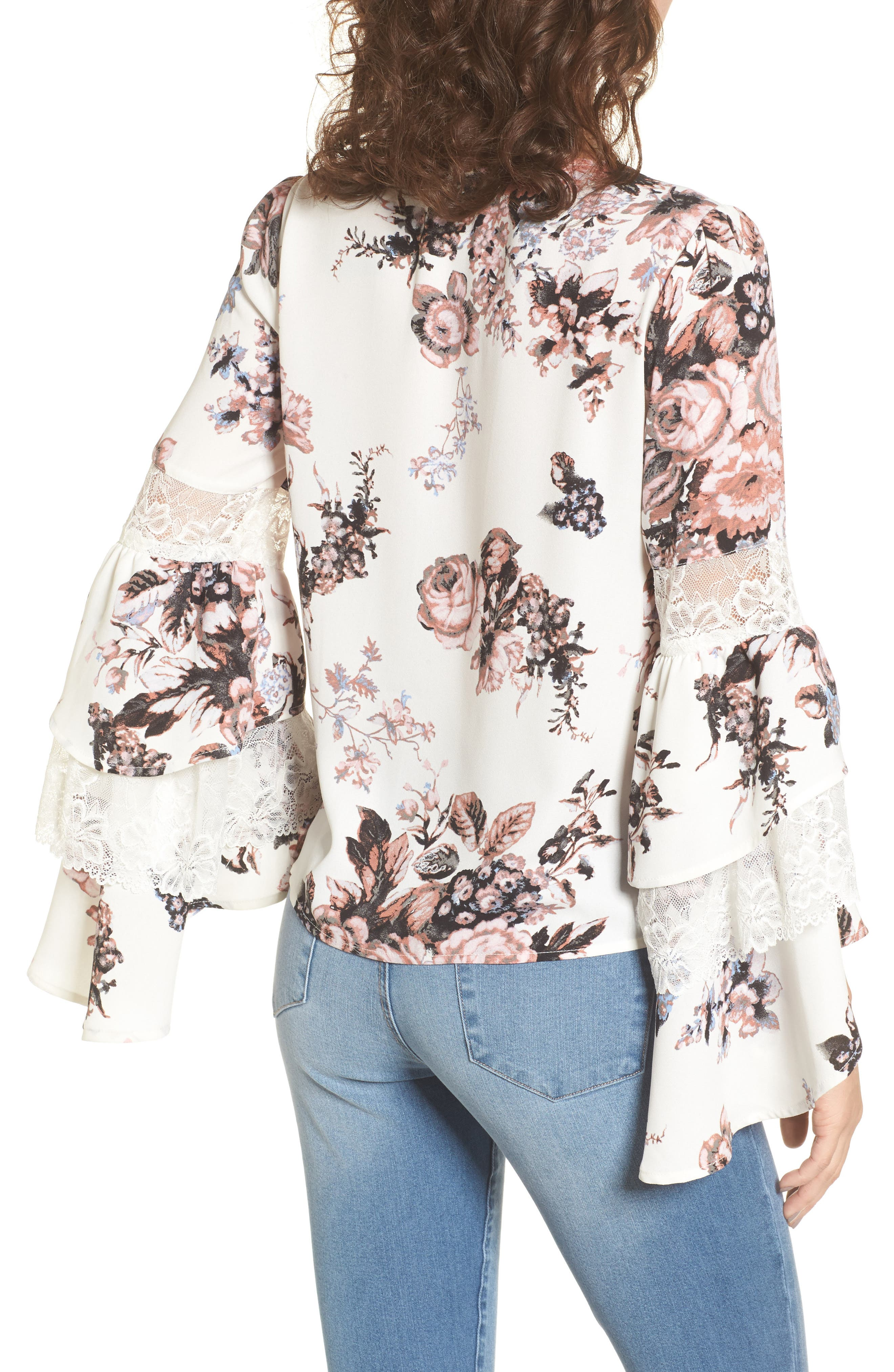 Ruffle Bell Sleeve Top,                             Alternate thumbnail 2, color,                             White Snow Photo Real Floral
