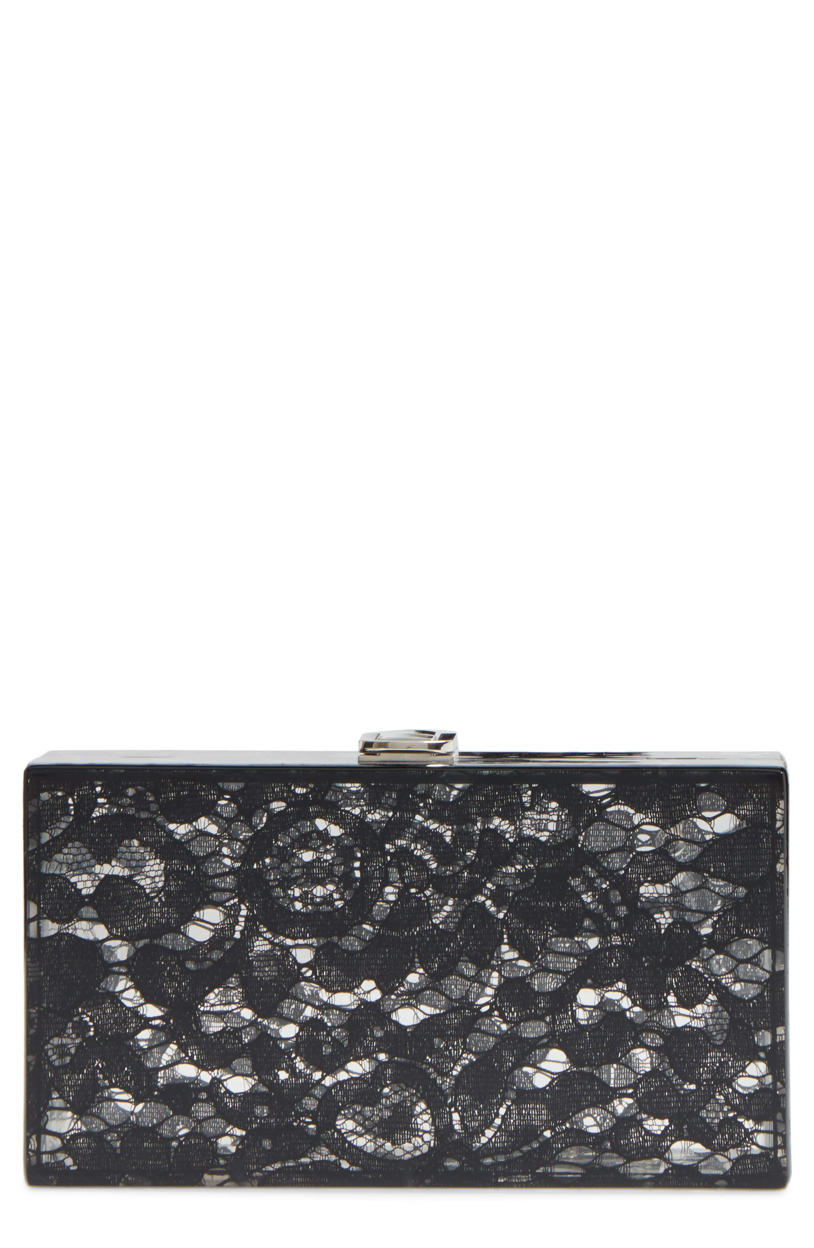 Main Image - Nordstrom Transparent Lace Box Clutch
