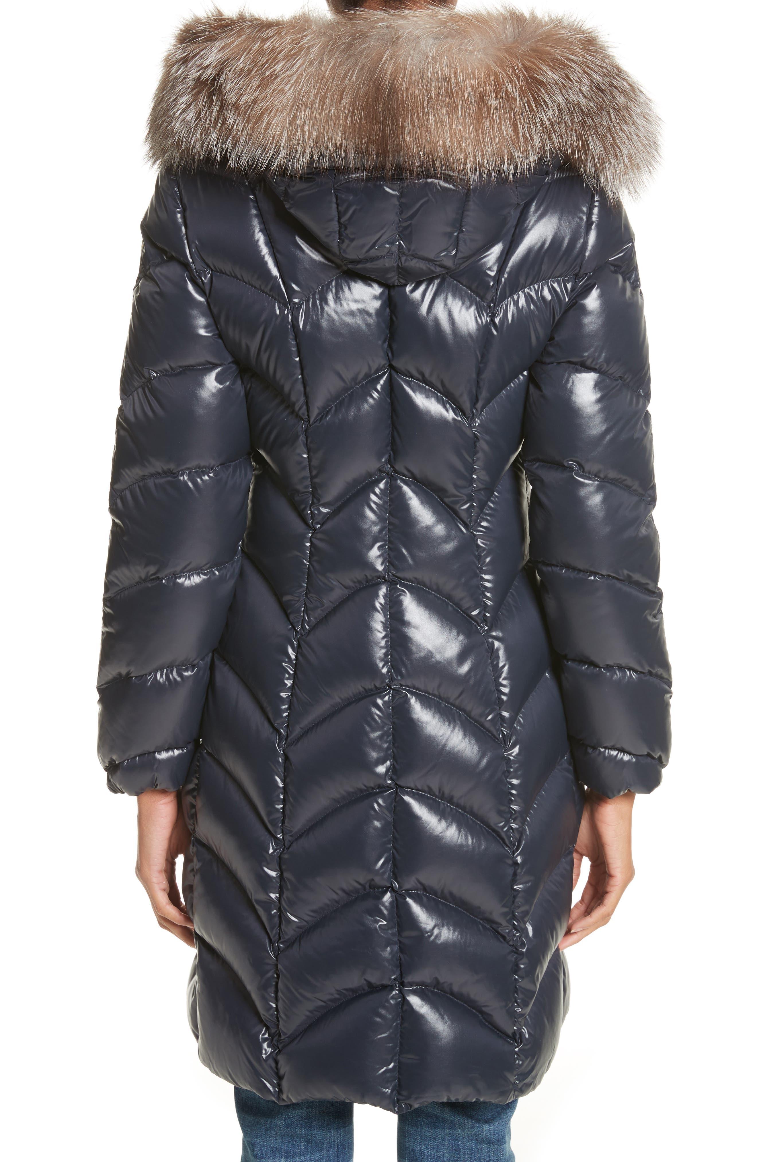 Albizia Down Puffer Coat with Genuine Fox Fur Trim,                             Alternate thumbnail 2, color,                             Navy