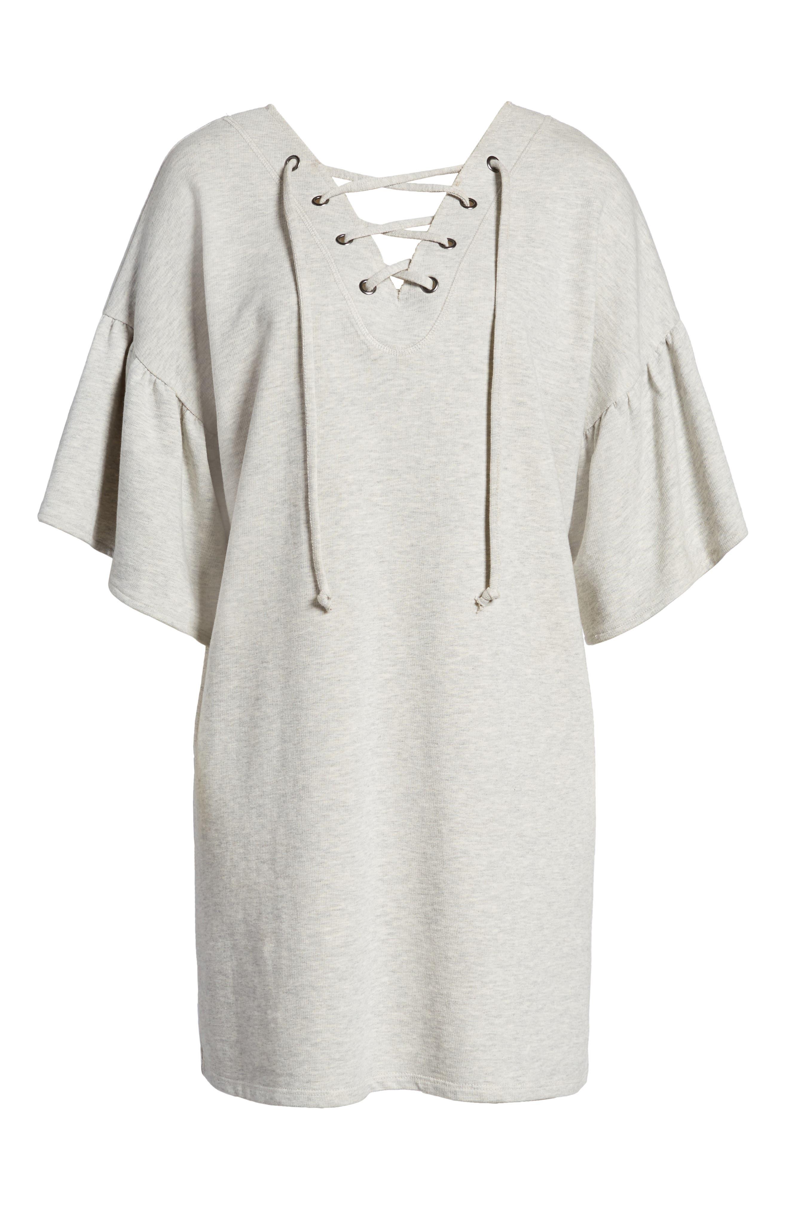 Mariska Fleece Knit Dress,                             Alternate thumbnail 7, color,                             Heather Sterling