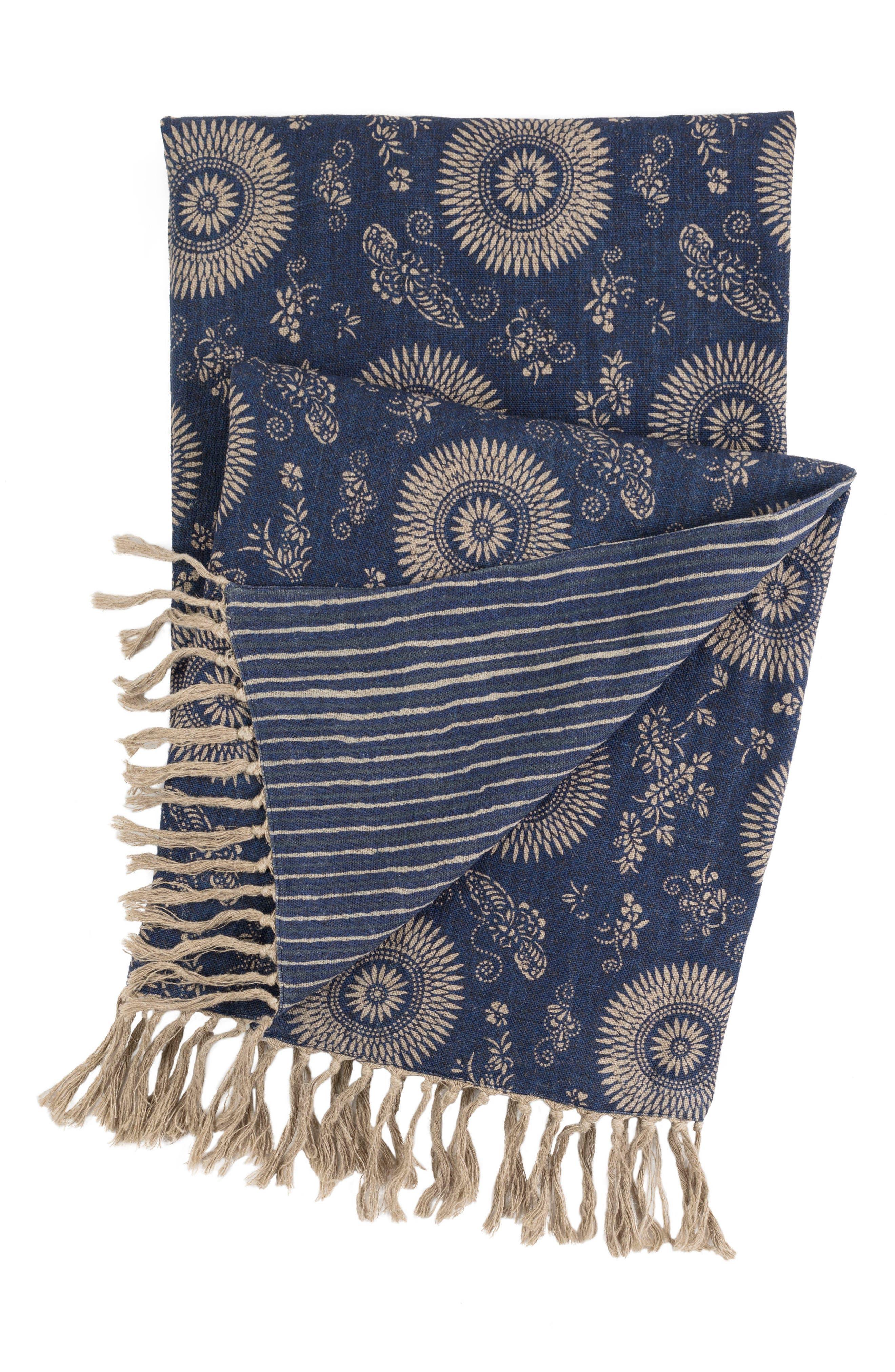 Marianna Linen Throw,                         Main,                         color, Blue