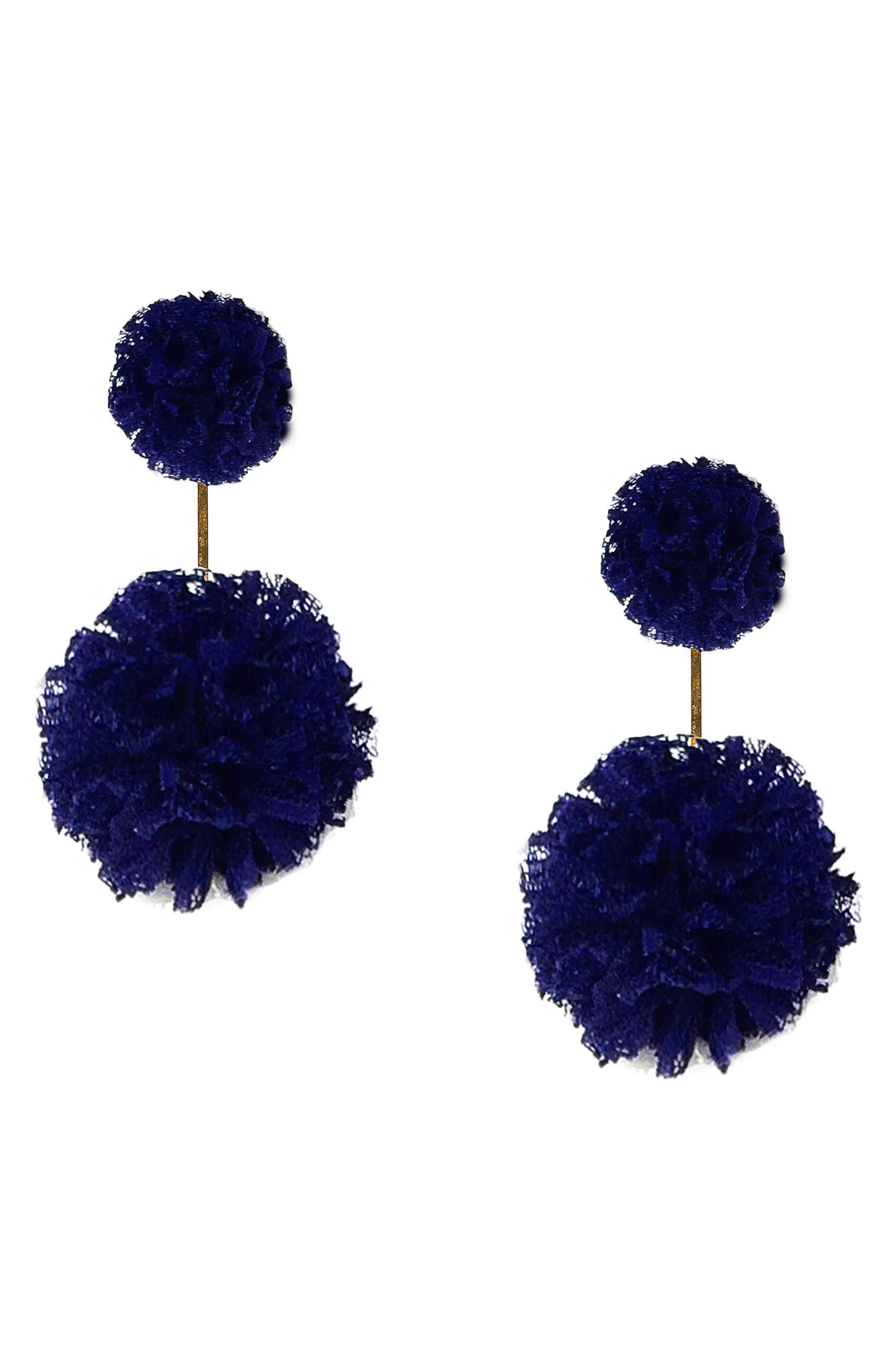 Double Lace Pom Pom Earrings,                         Main,                         color, Gold/ Cobalt Blue