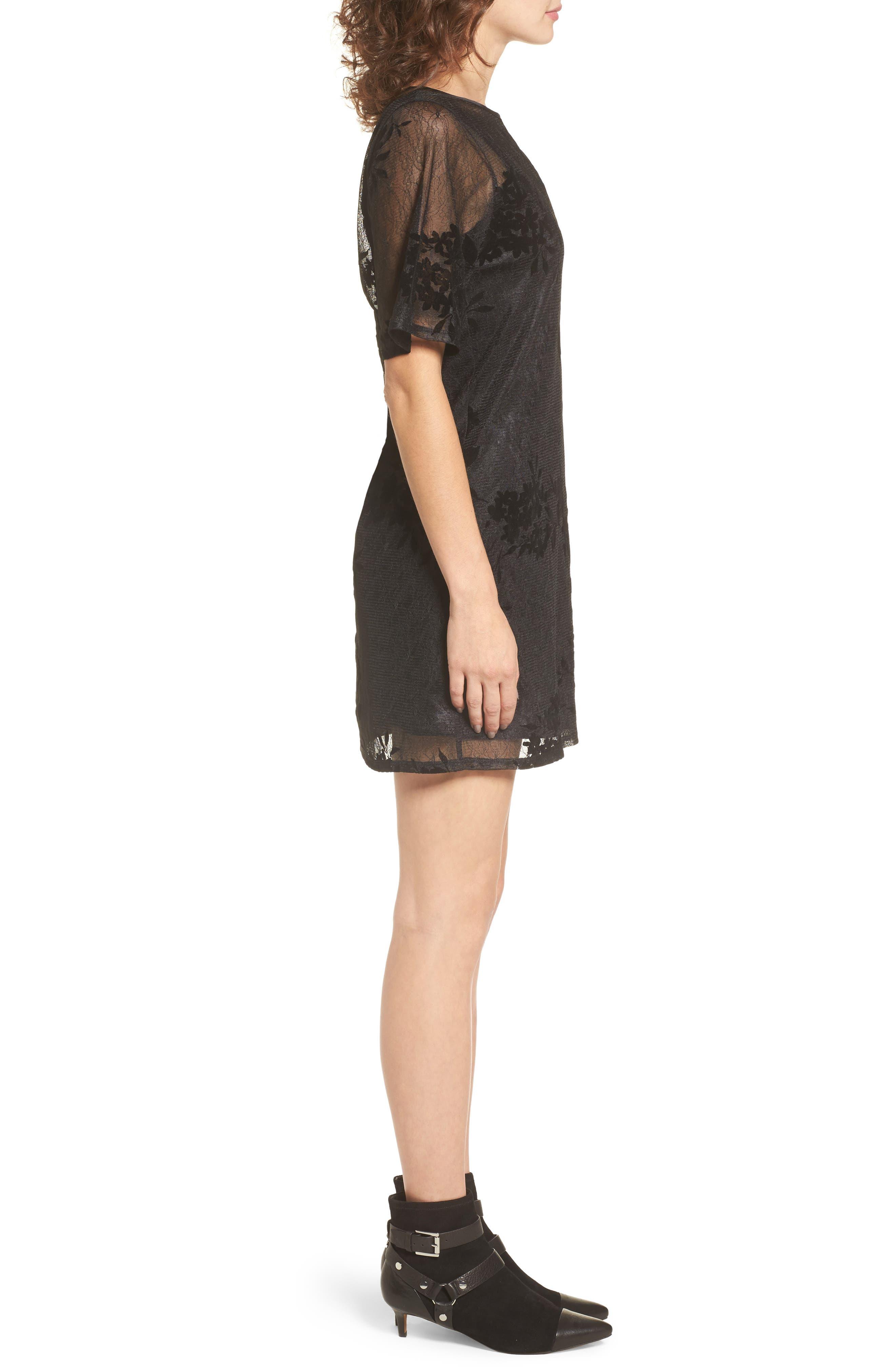 Flocked Lace A-Line Dress,                             Alternate thumbnail 3, color,                             Black Lace