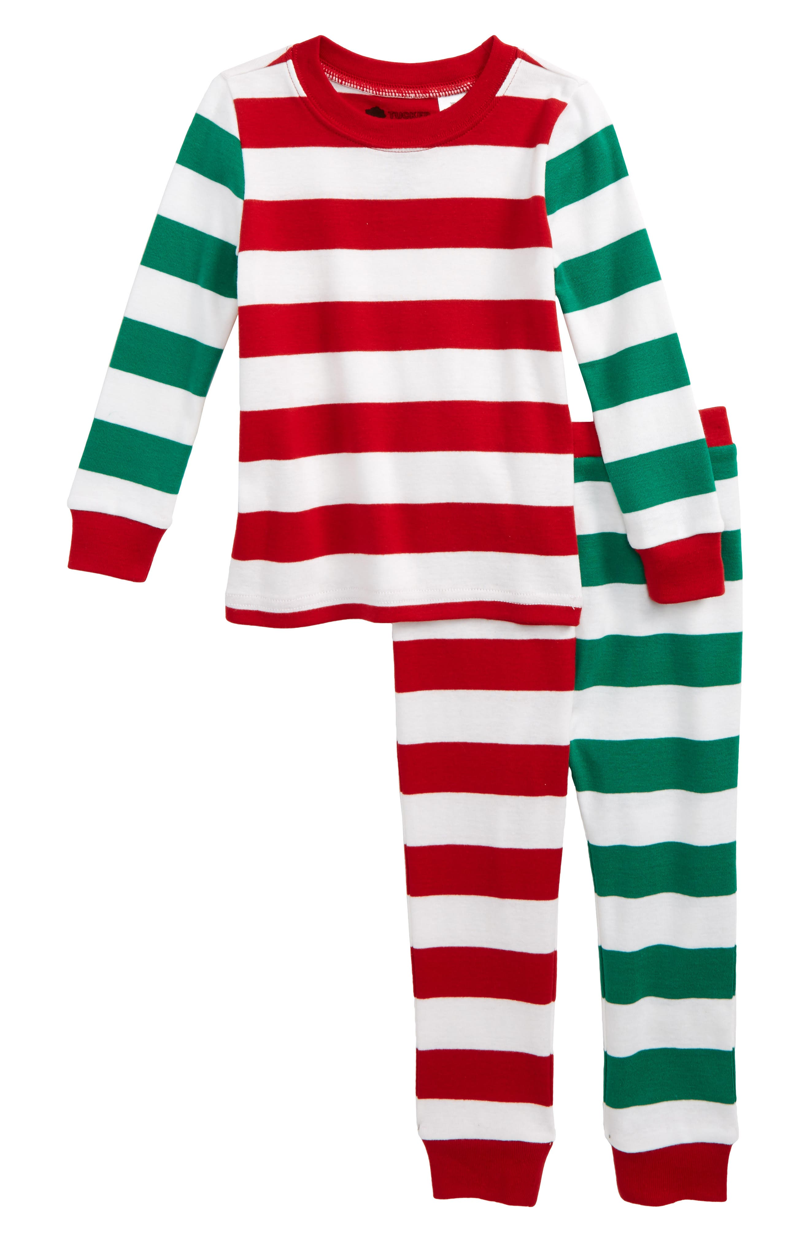 Fitted Two-Piece Pajamas,                         Main,                         color, Red Sage- Green Mixed Stripe