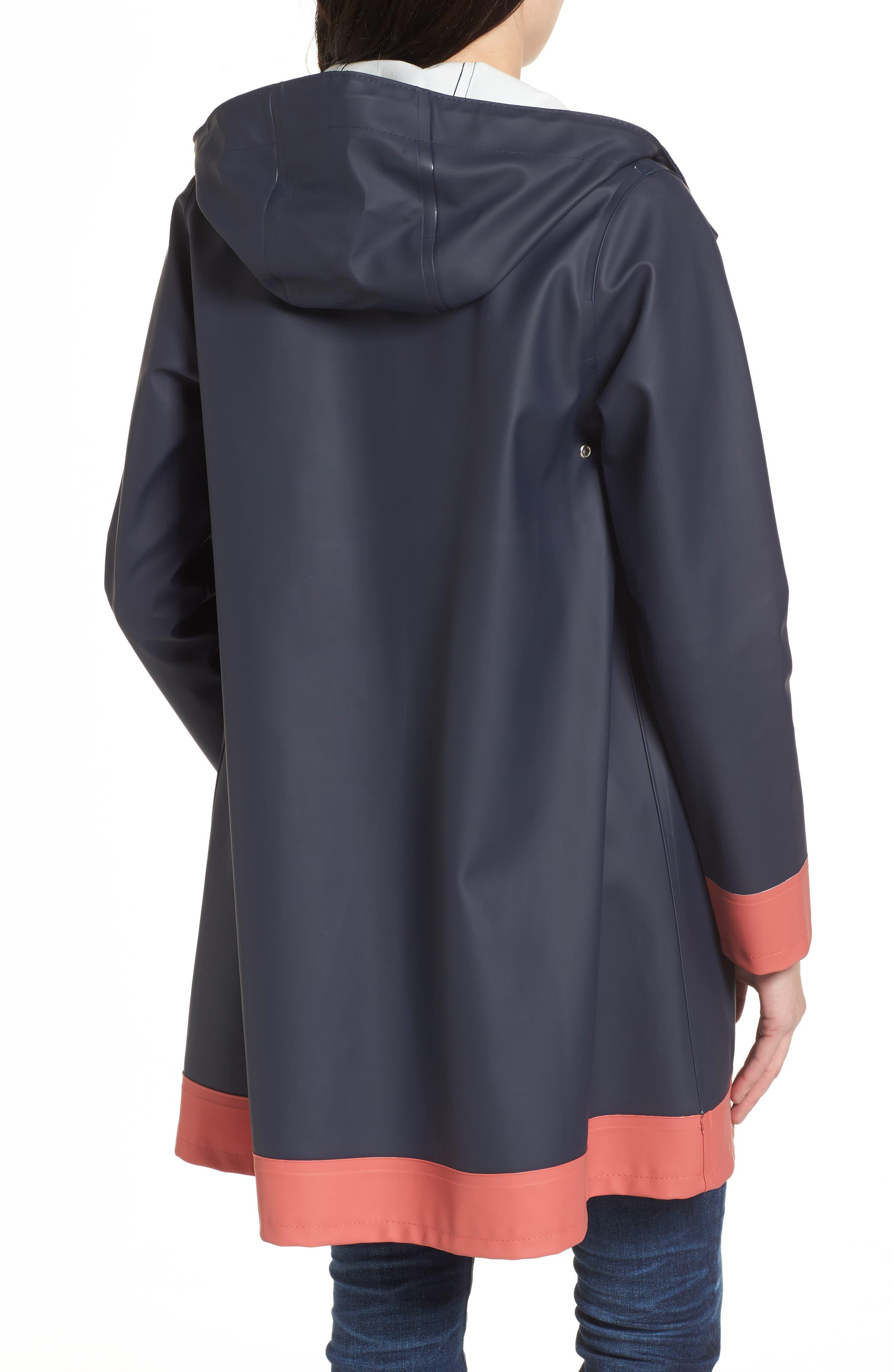 Mosebacke Frame Colorblock Raincoat,                             Alternate thumbnail 2, color,                             Navy/ Faded Rose