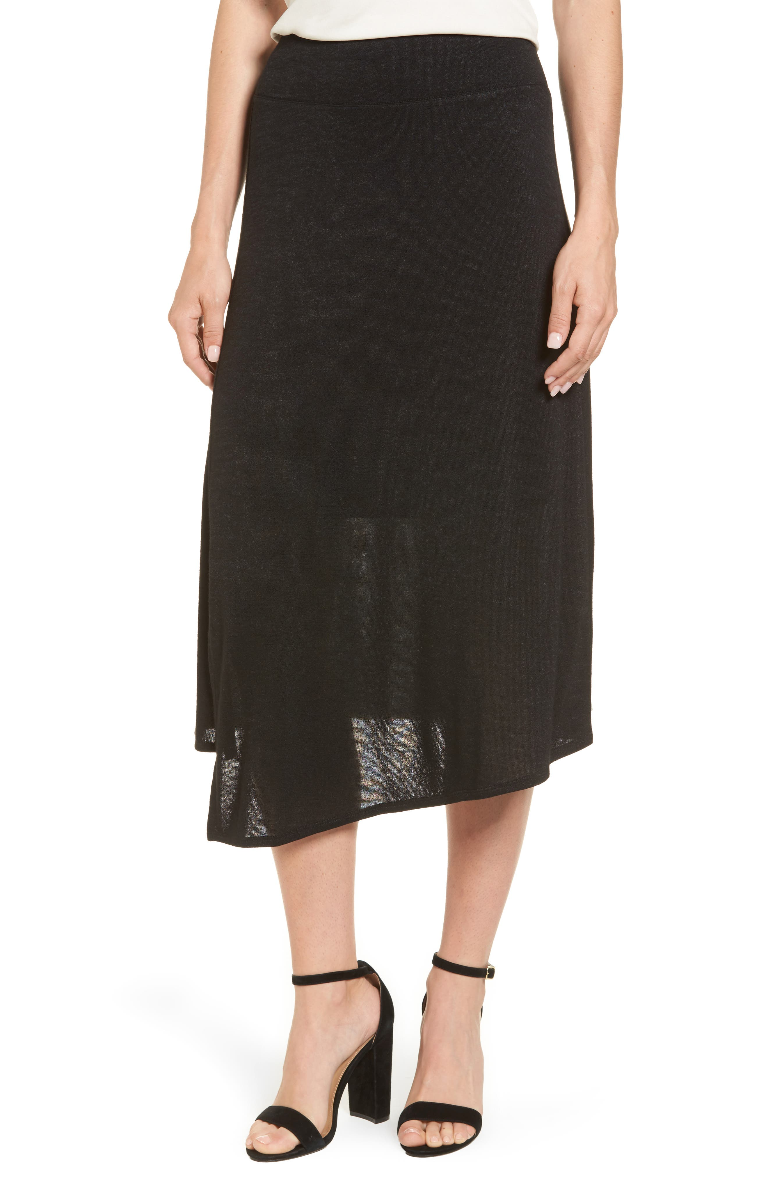 Nic + Zoe Every Occasion Faux Wrap Skirt,                             Main thumbnail 1, color,                             Black Onyx