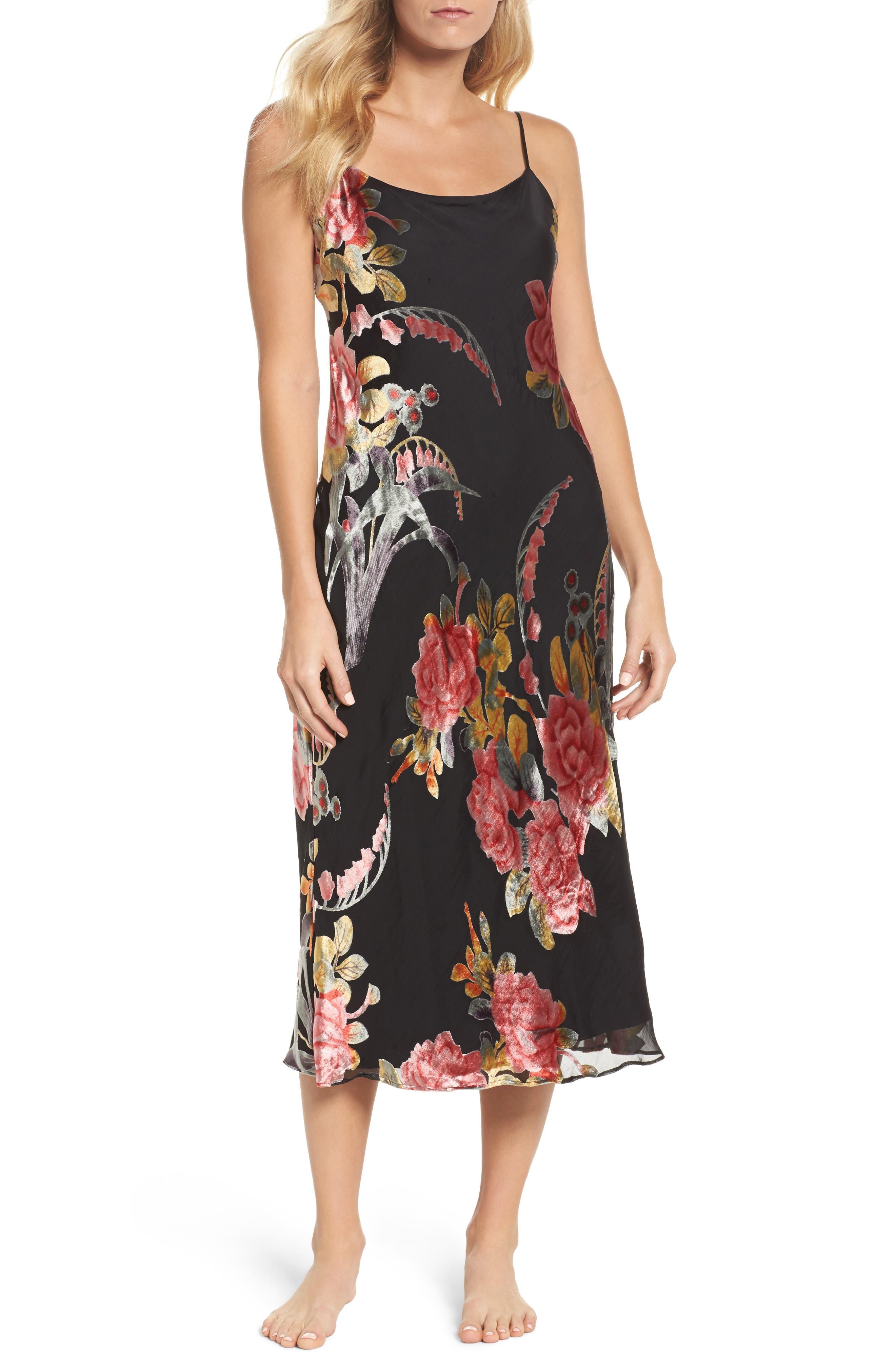 Burnout Velvet Nightgown,                         Main,                         color, Black