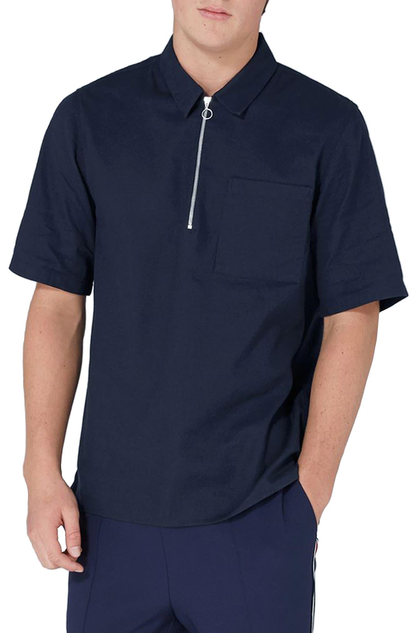 Modern Fit Zip Shirt,                         Main,                         color, Navy