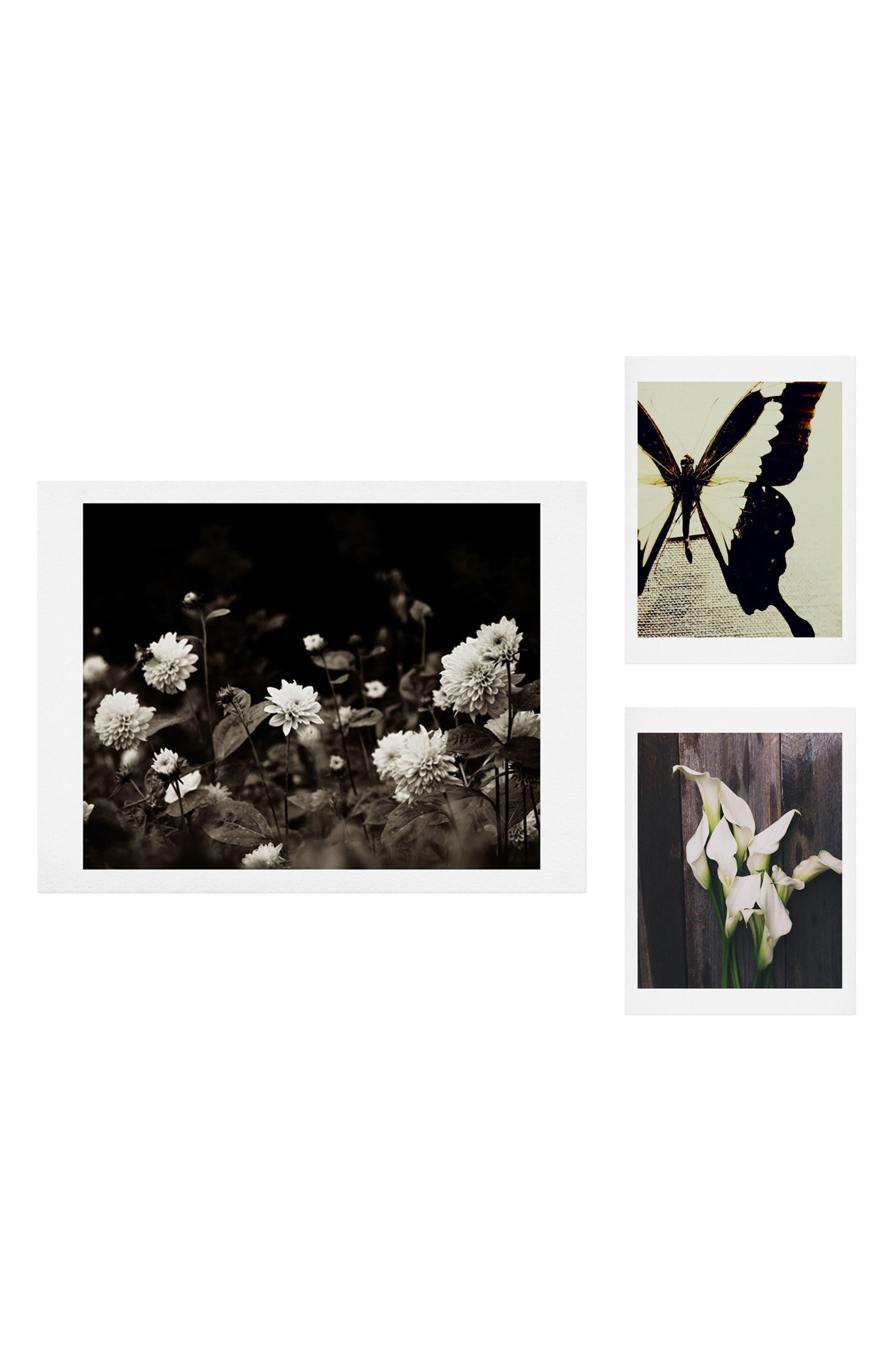 Black Dahlia 3-Piece Gallery Wall Art Print Set,                             Main thumbnail 1, color,                             Black/ White