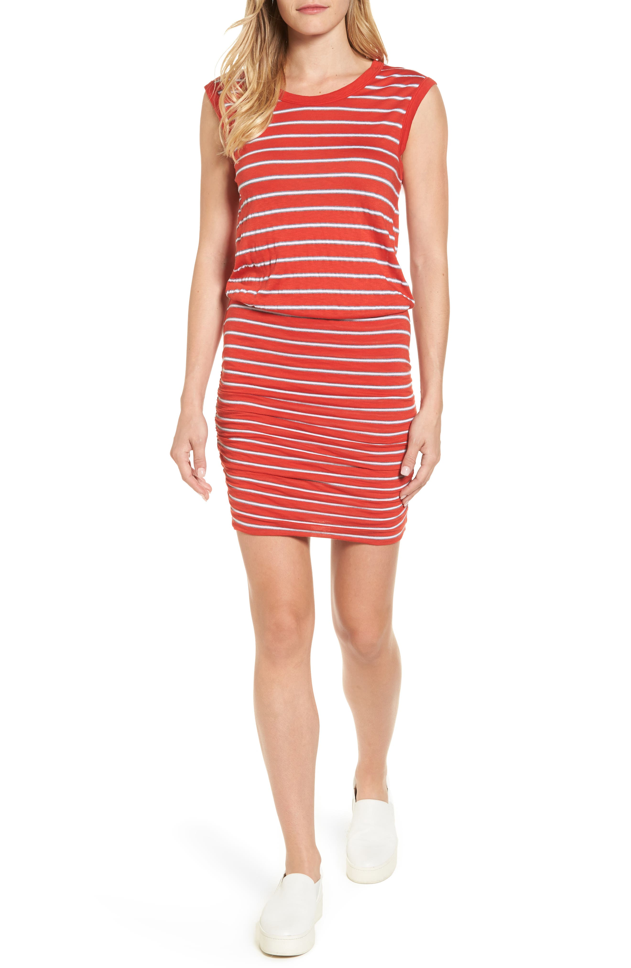 Stripe Ruched Dress,                             Main thumbnail 1, color,                             Rouge