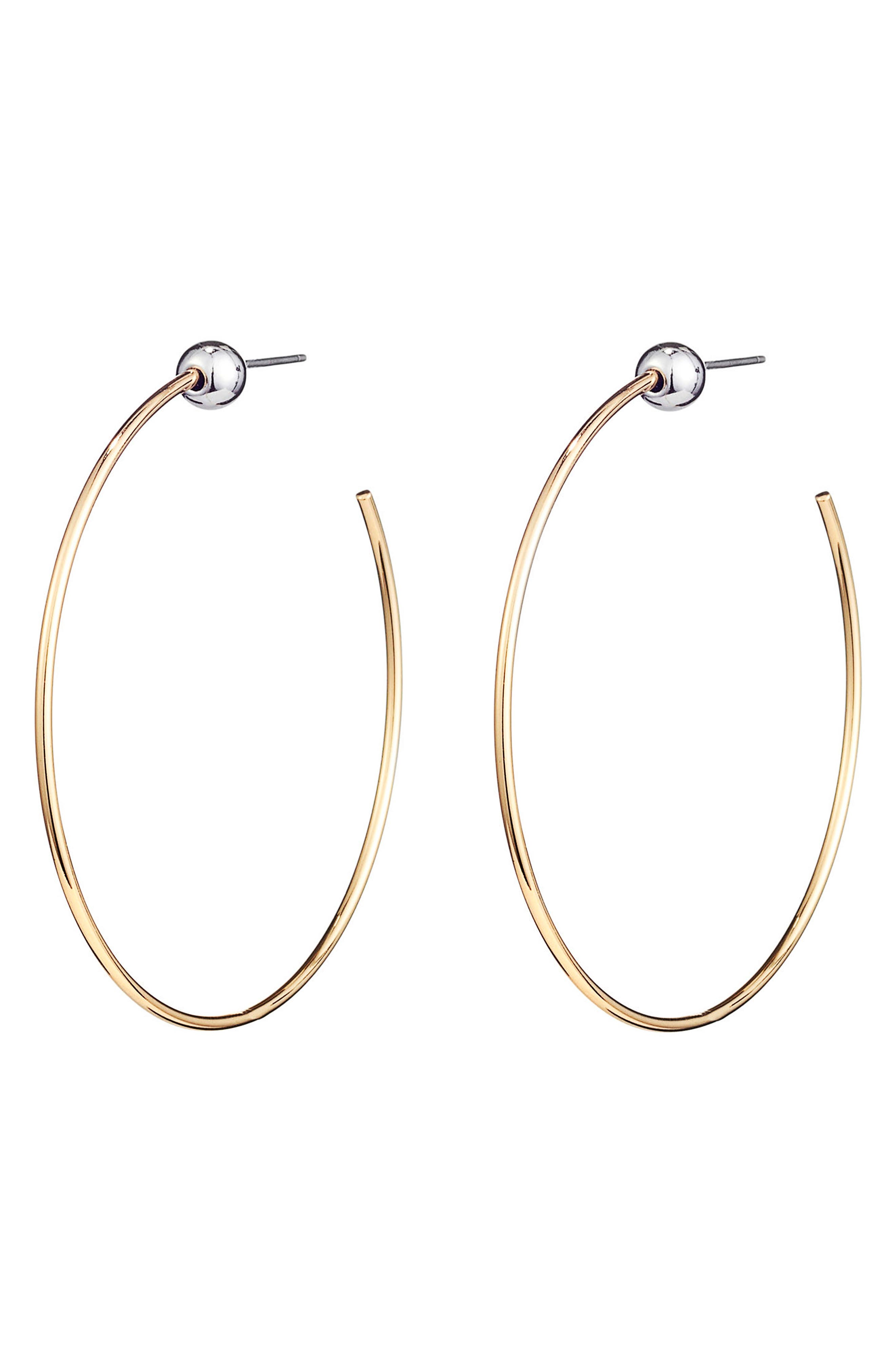 Icon Small Hoop Earrings,                             Alternate thumbnail 3, color,                             Gold/ Silver