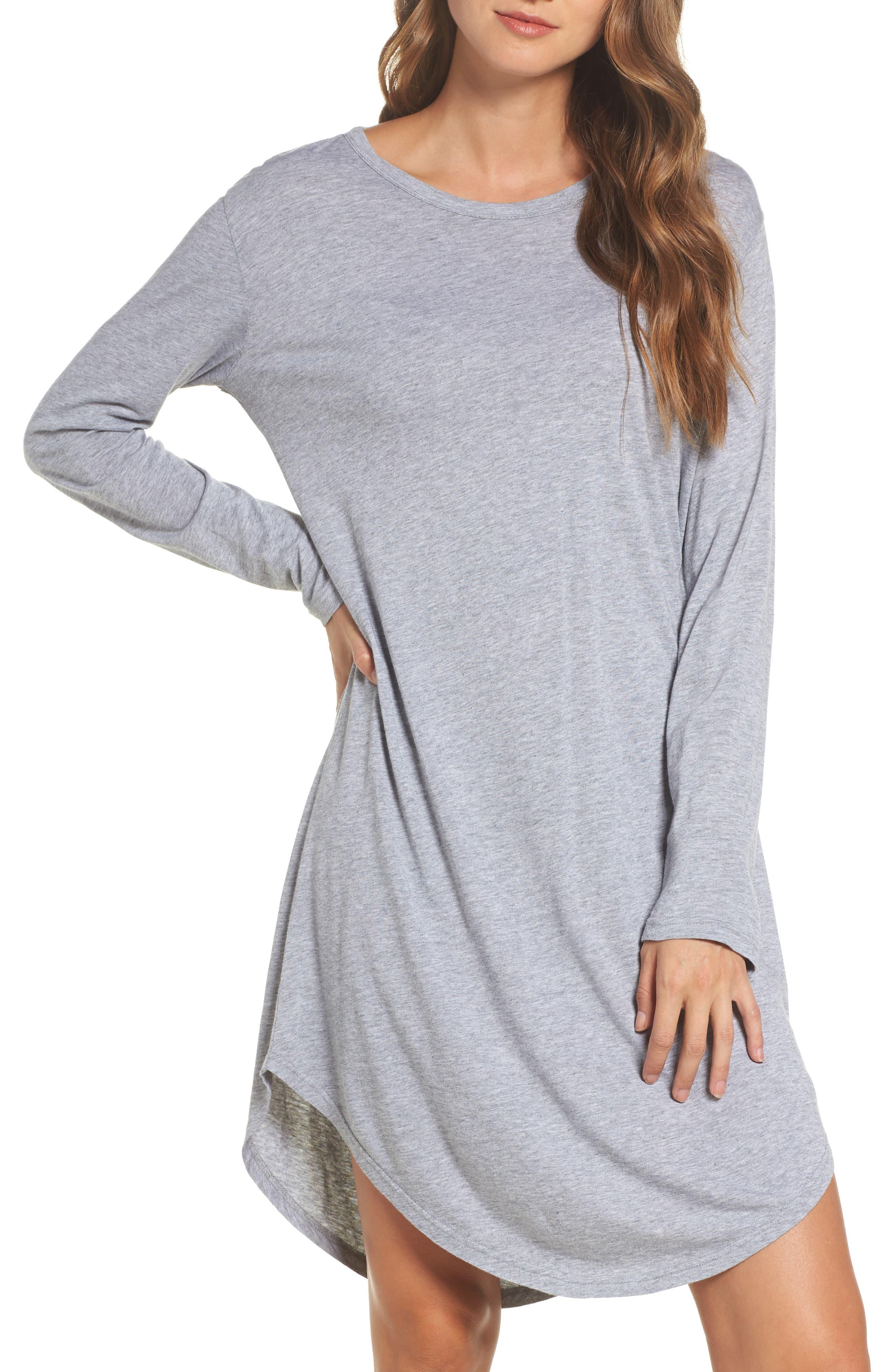Wednesday Sleep Shirt,                         Main,                         color, Plain Grey Marle