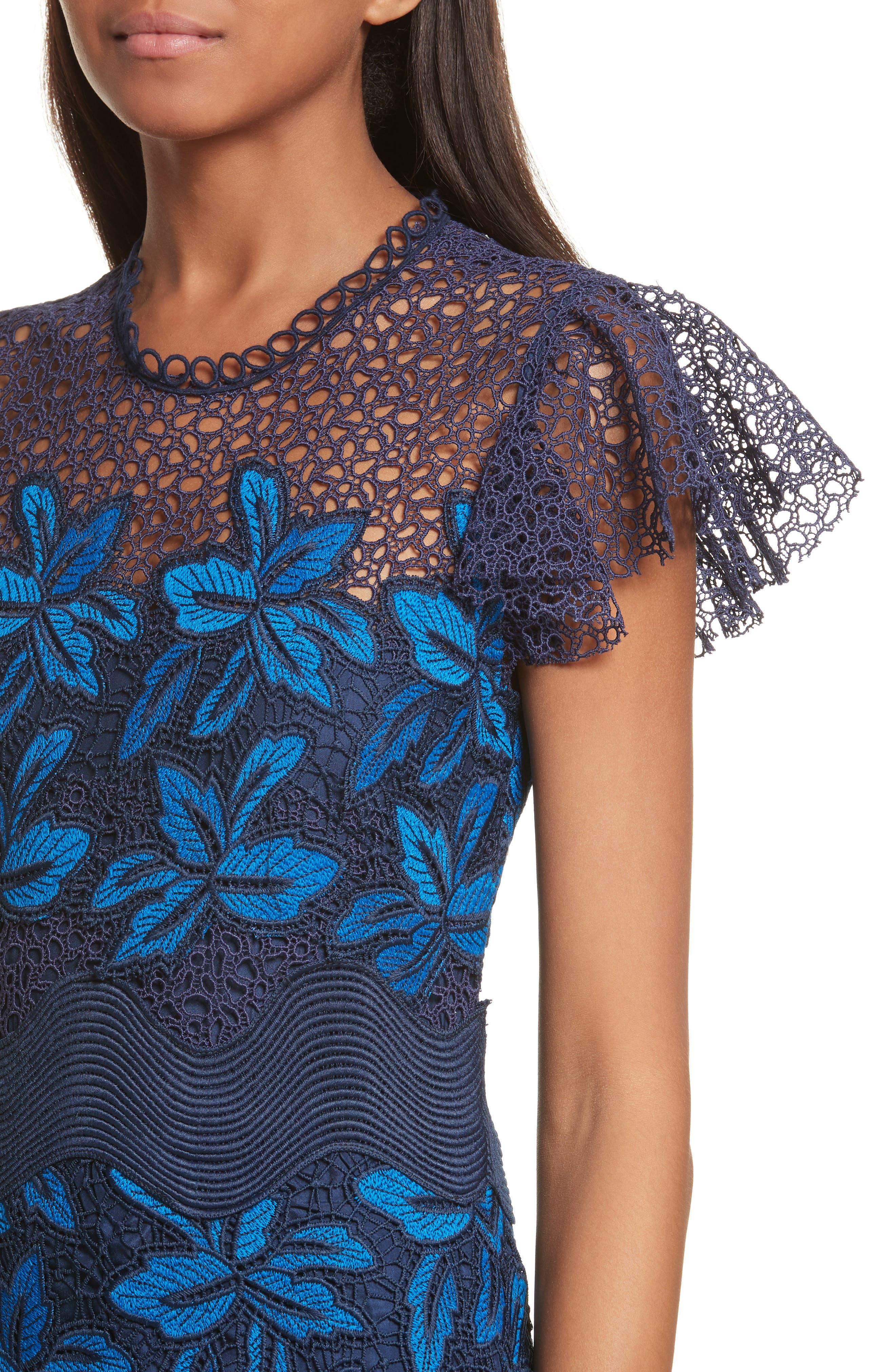 Mosaic Lace Midi Dress,                             Alternate thumbnail 4, color,                             Blue Multi