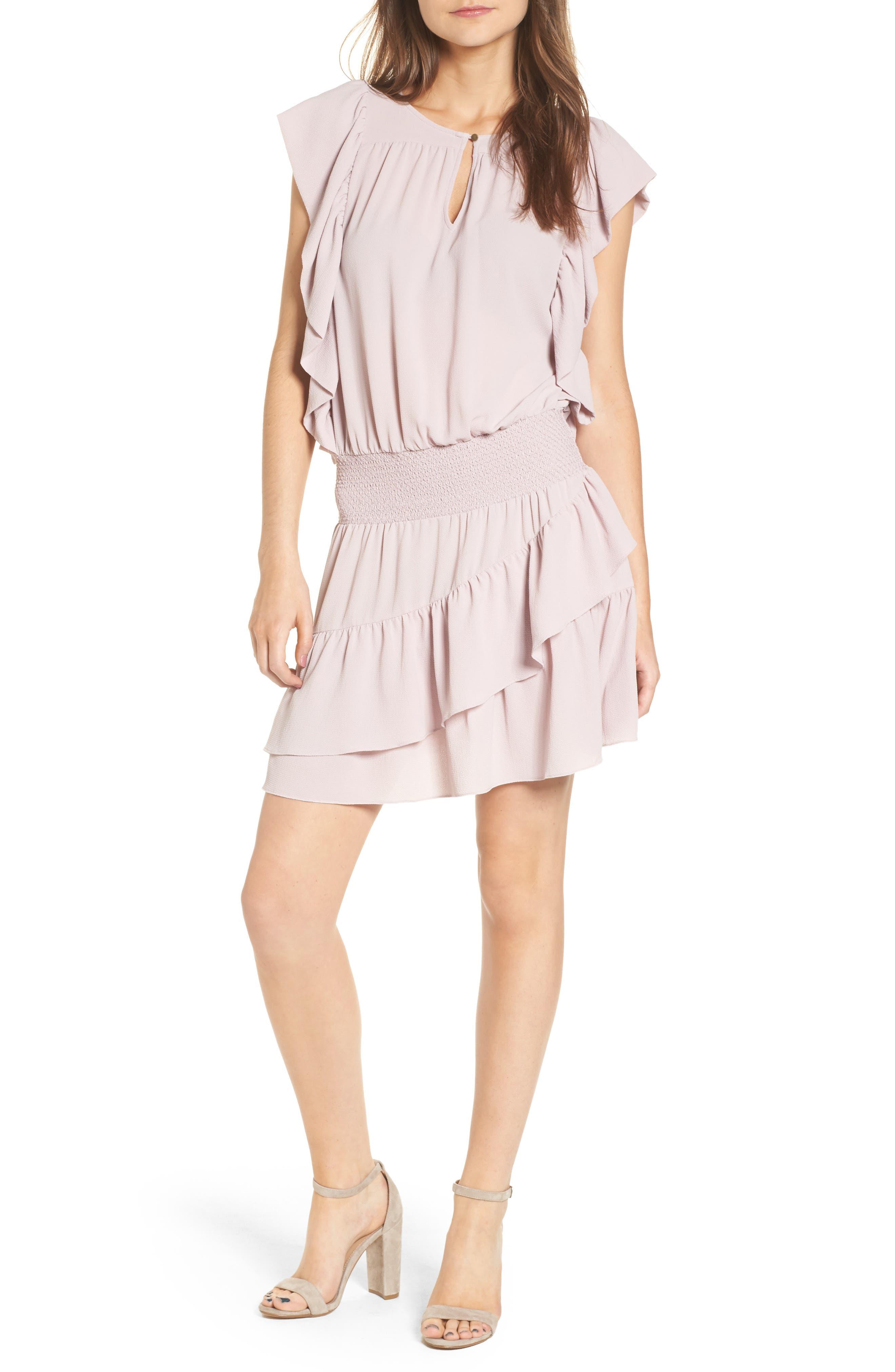 Medena Smock Waist Ruffle Minidress,                         Main,                         color, Pale Lavender
