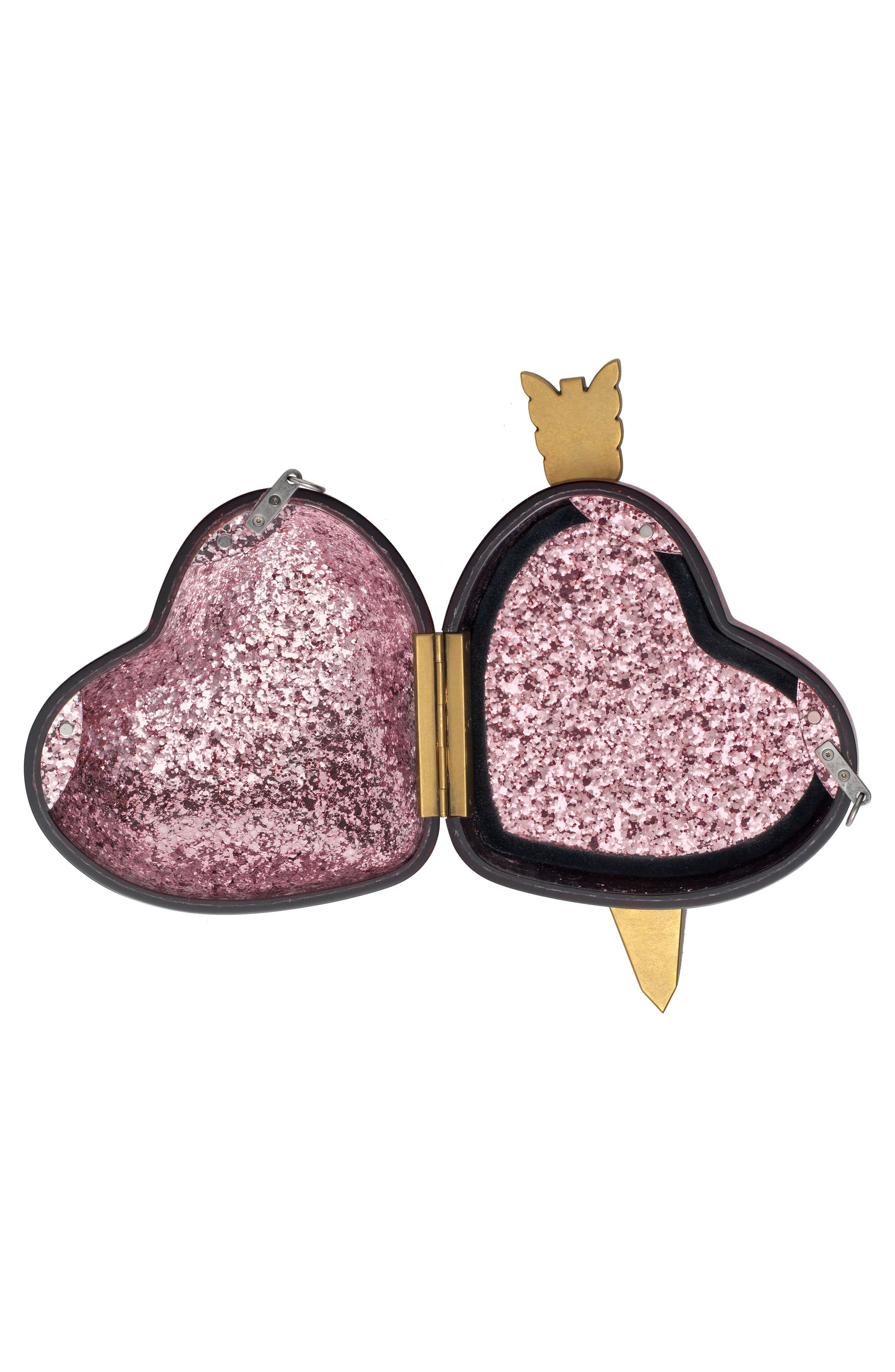 Broadway Glitter Heart Minaudière,                             Alternate thumbnail 3, color,                             Fuxia Multi/ Cream