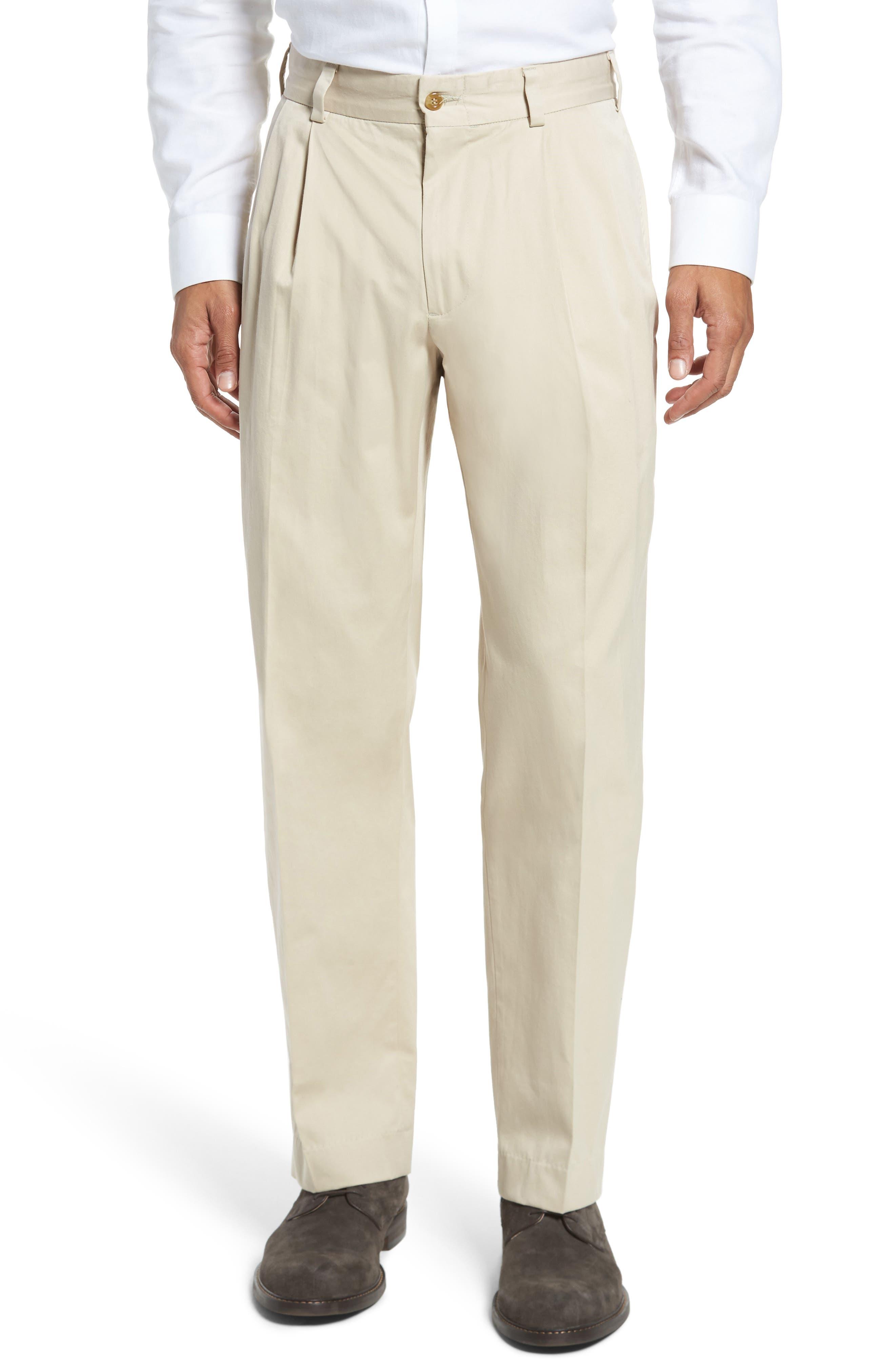 Classic Fit Pleat Front Chamois Cloth Pants,                         Main,                         color, Khaki