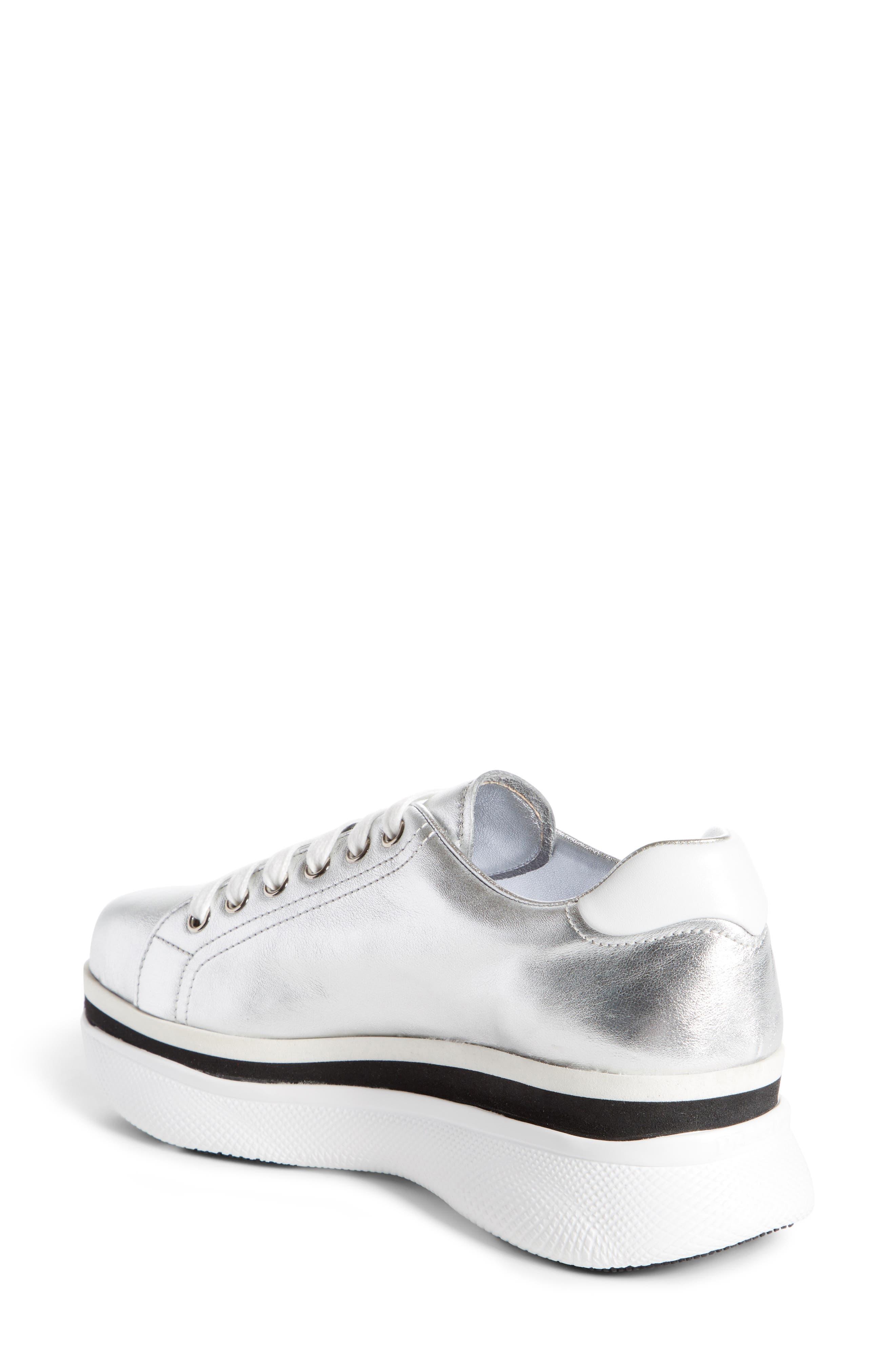 Platform Lace-Up Sneaker,                             Alternate thumbnail 2, color,                             Silver