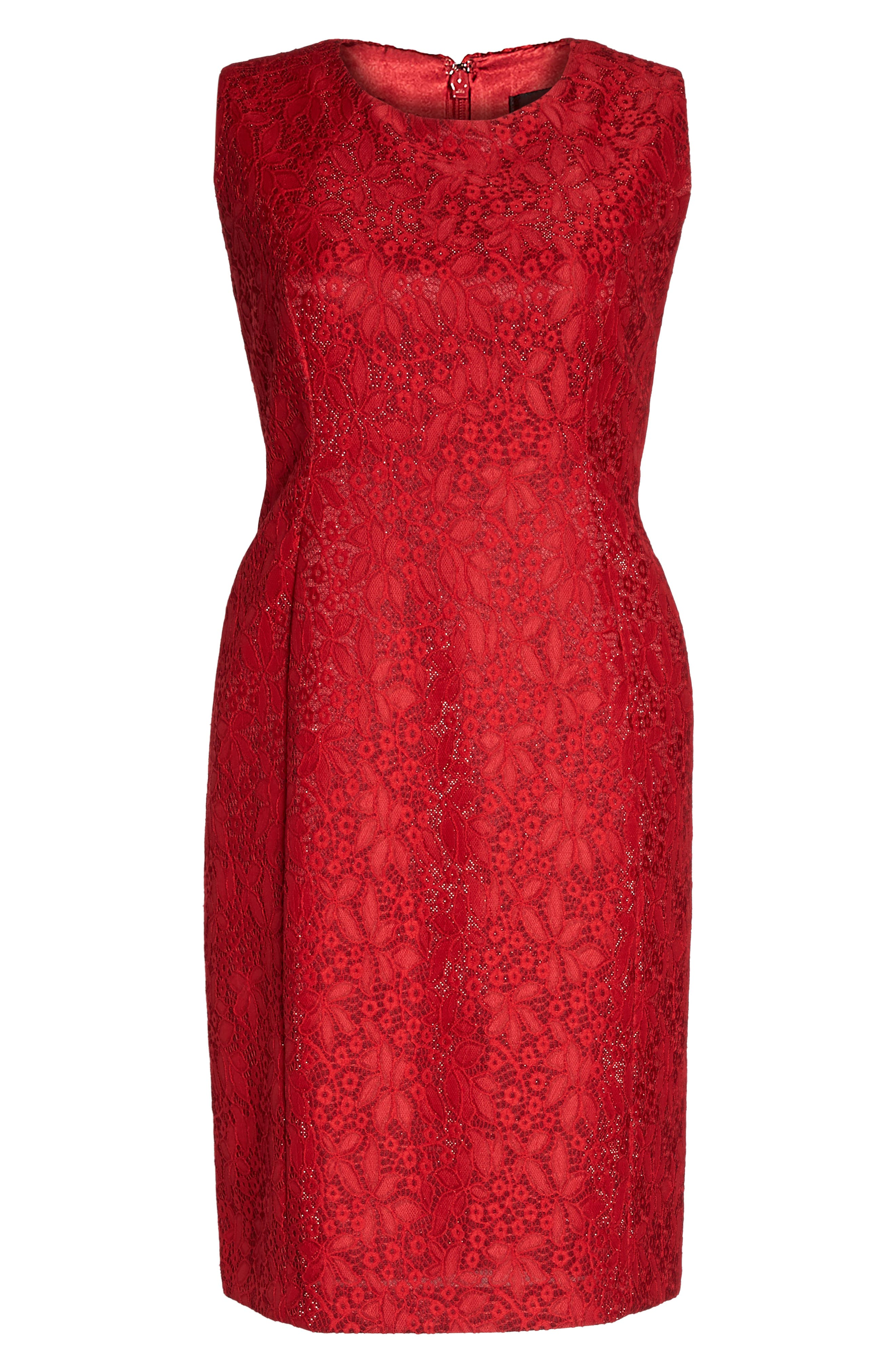 Shimmer Lace Sheath Dress,                             Alternate thumbnail 6, color,                             Lipstick Red