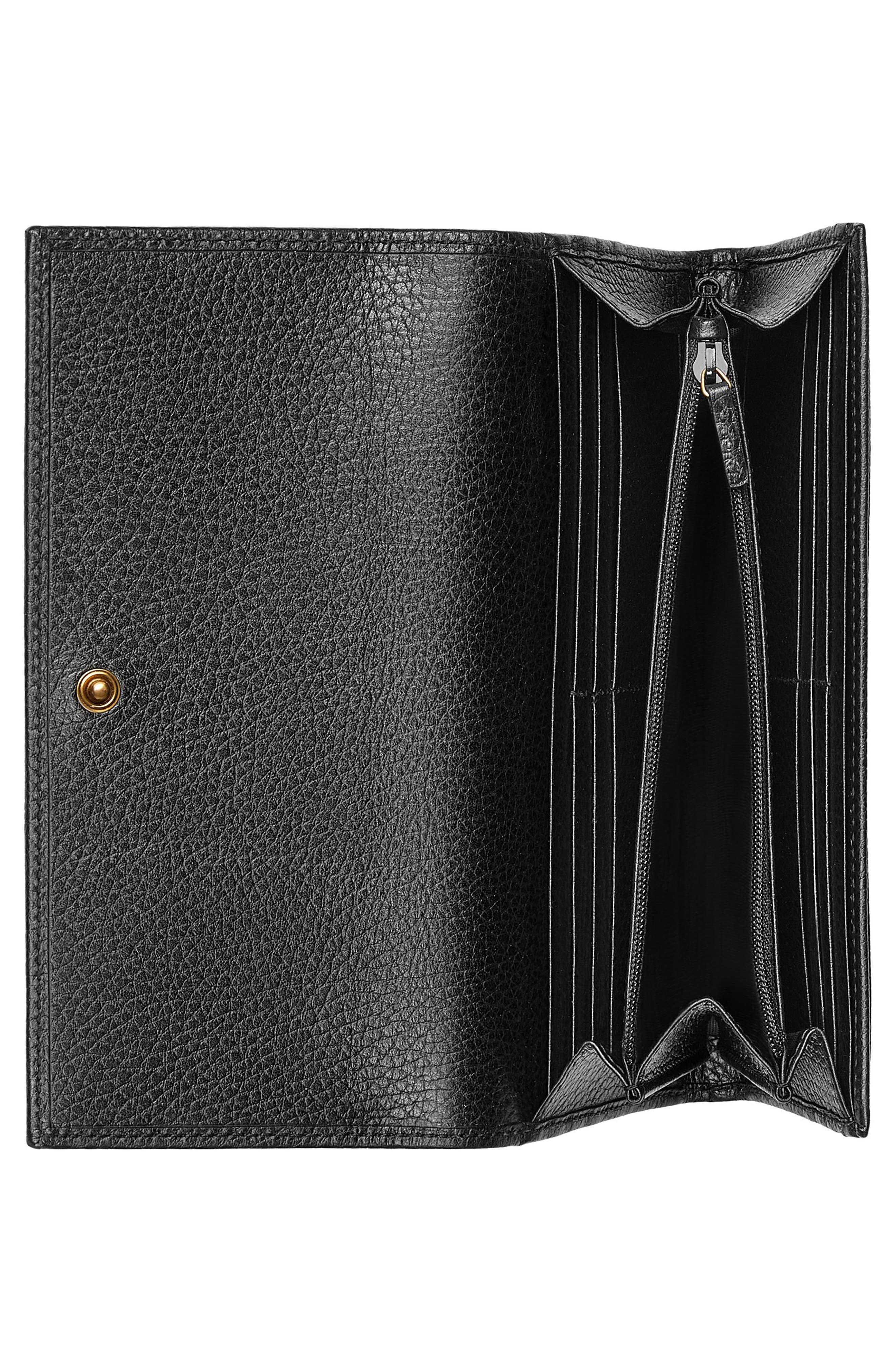 Farfalla Leather Continental Wallet,                             Alternate thumbnail 2, color,                             Nero/ Crystal