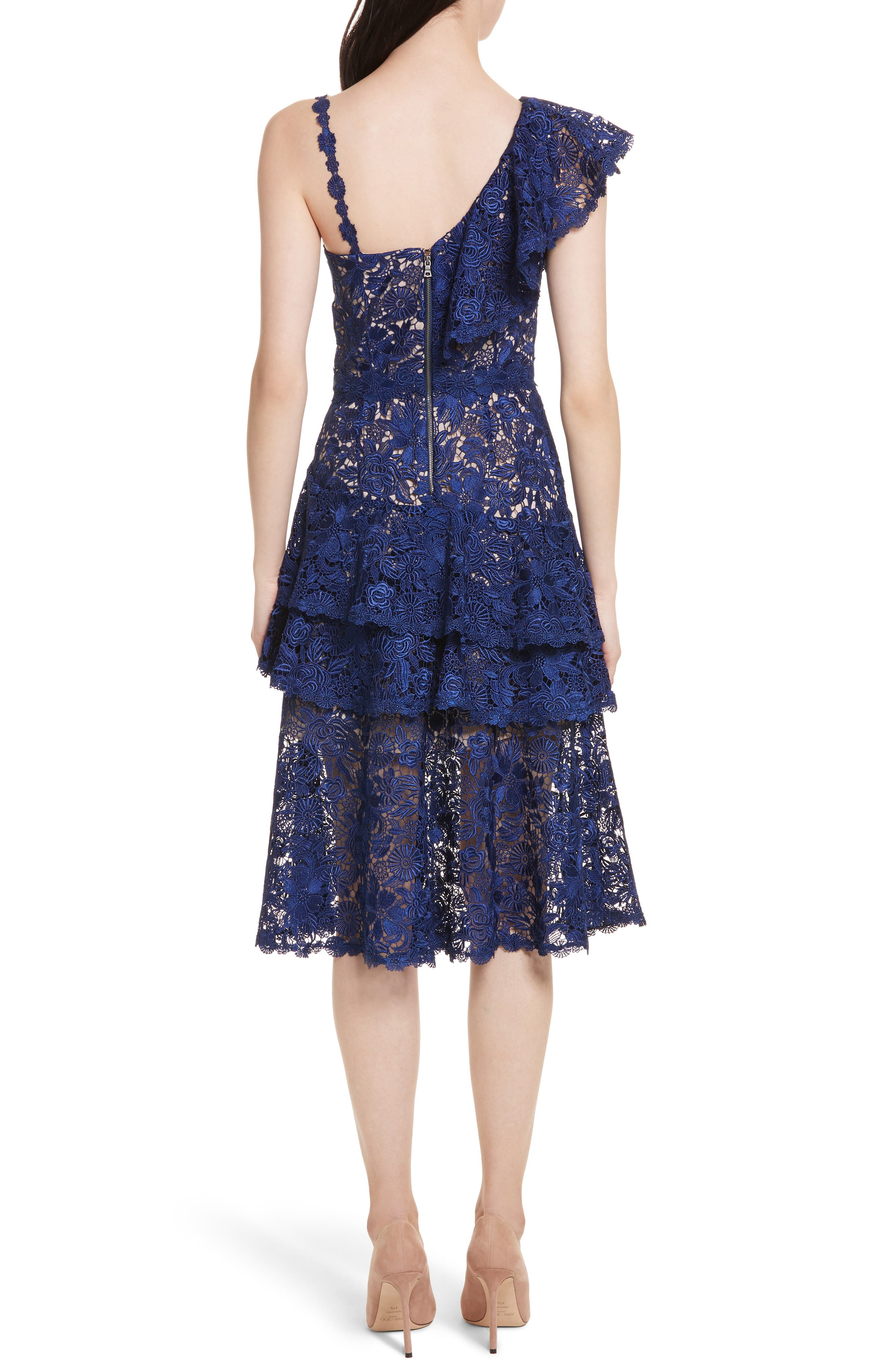 Florrie Ruffled Lace Midi Dress,                             Alternate thumbnail 2, color,                             Indigo/ Nude