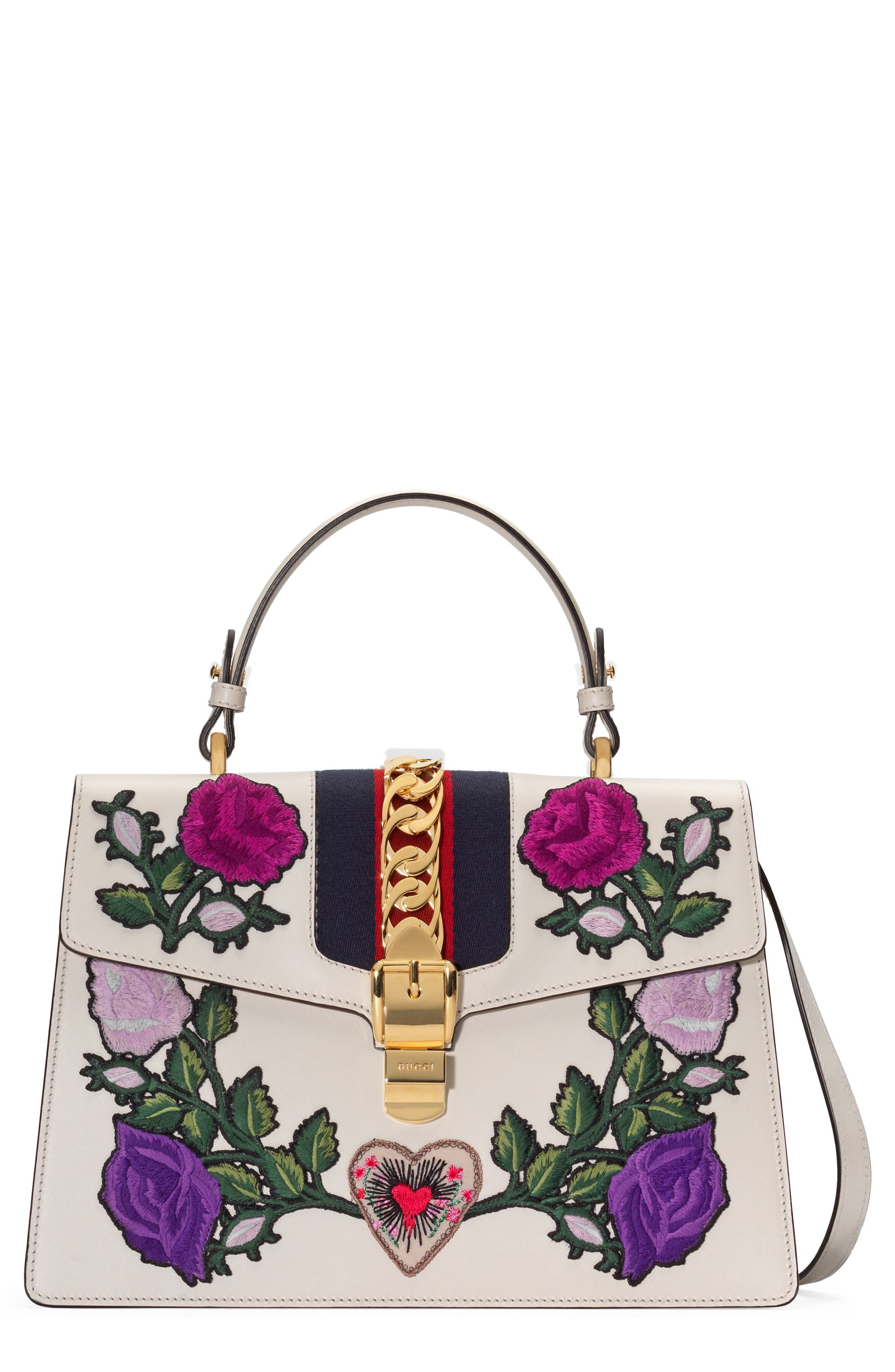 Alternate Image 1 Selected - Gucci Medium Sylvie Floral Patch Top Handle Leather Shoulder Bag
