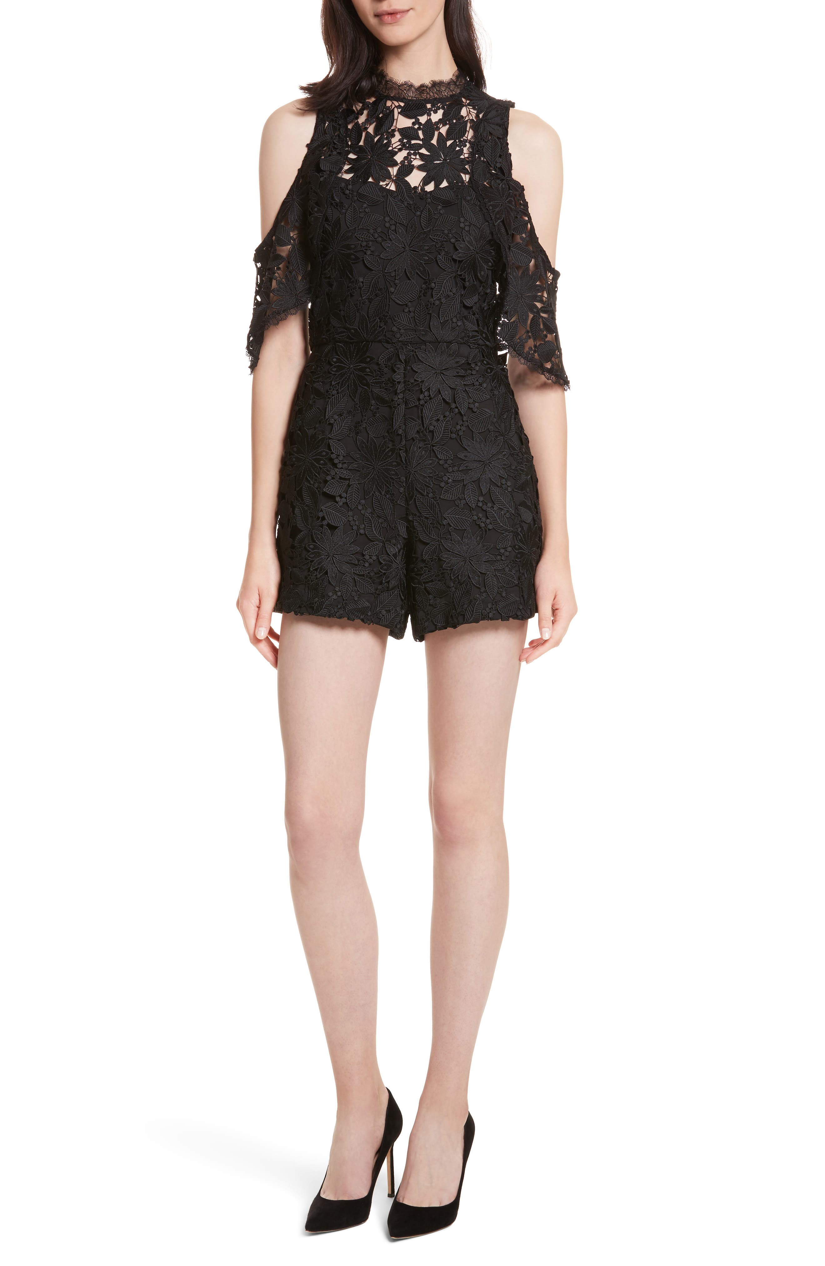 Main Image - Alice + Olivia Junie Cold Shoulder Lace Romper