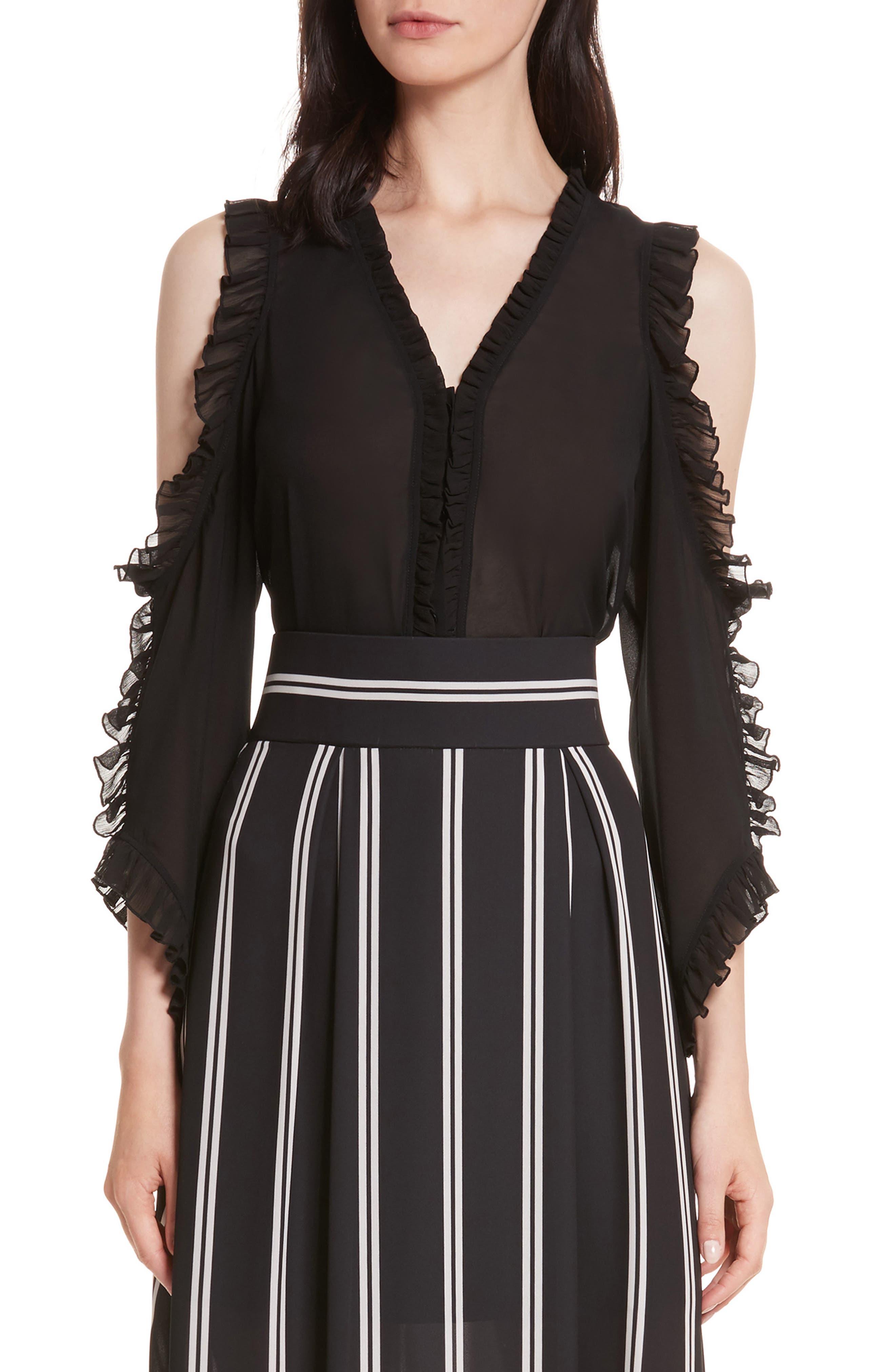 Claudette Cold Shoulder Blouse,                         Main,                         color, Black