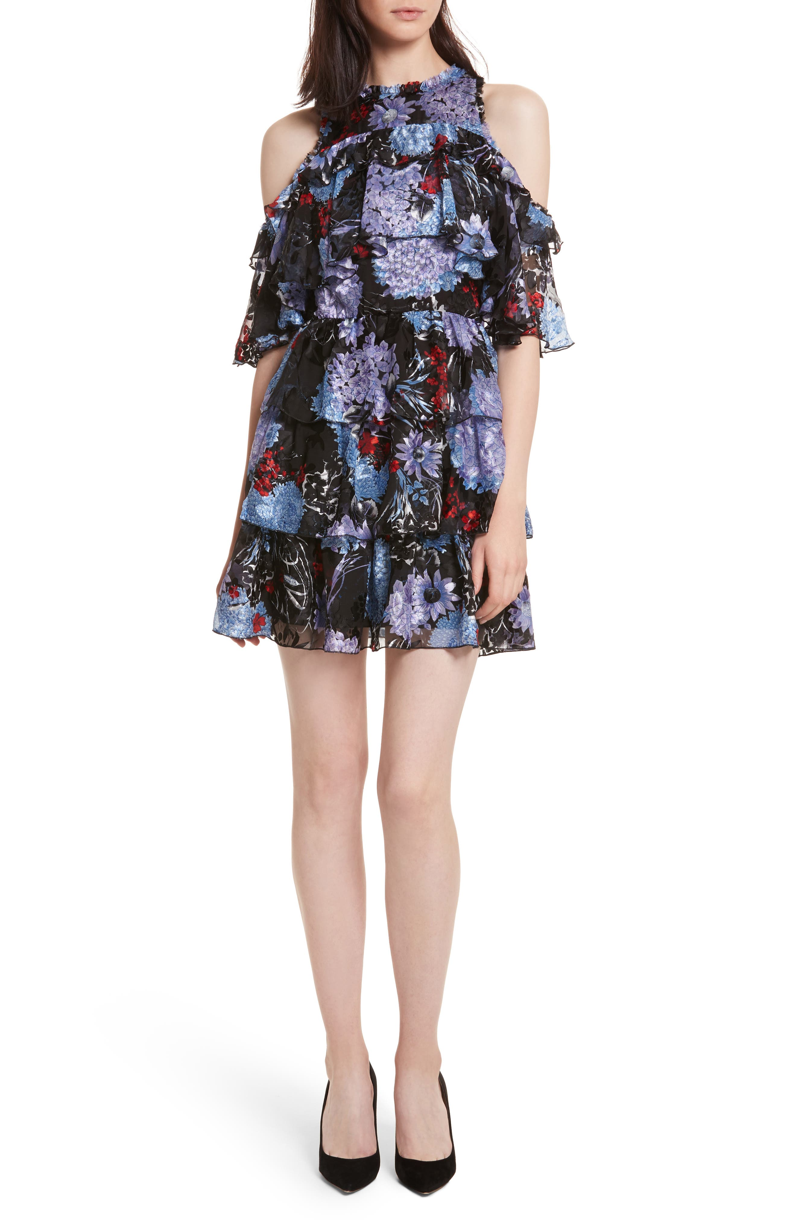 Nichola Cold Shoulder Floral Dress,                         Main,                         color, Multi