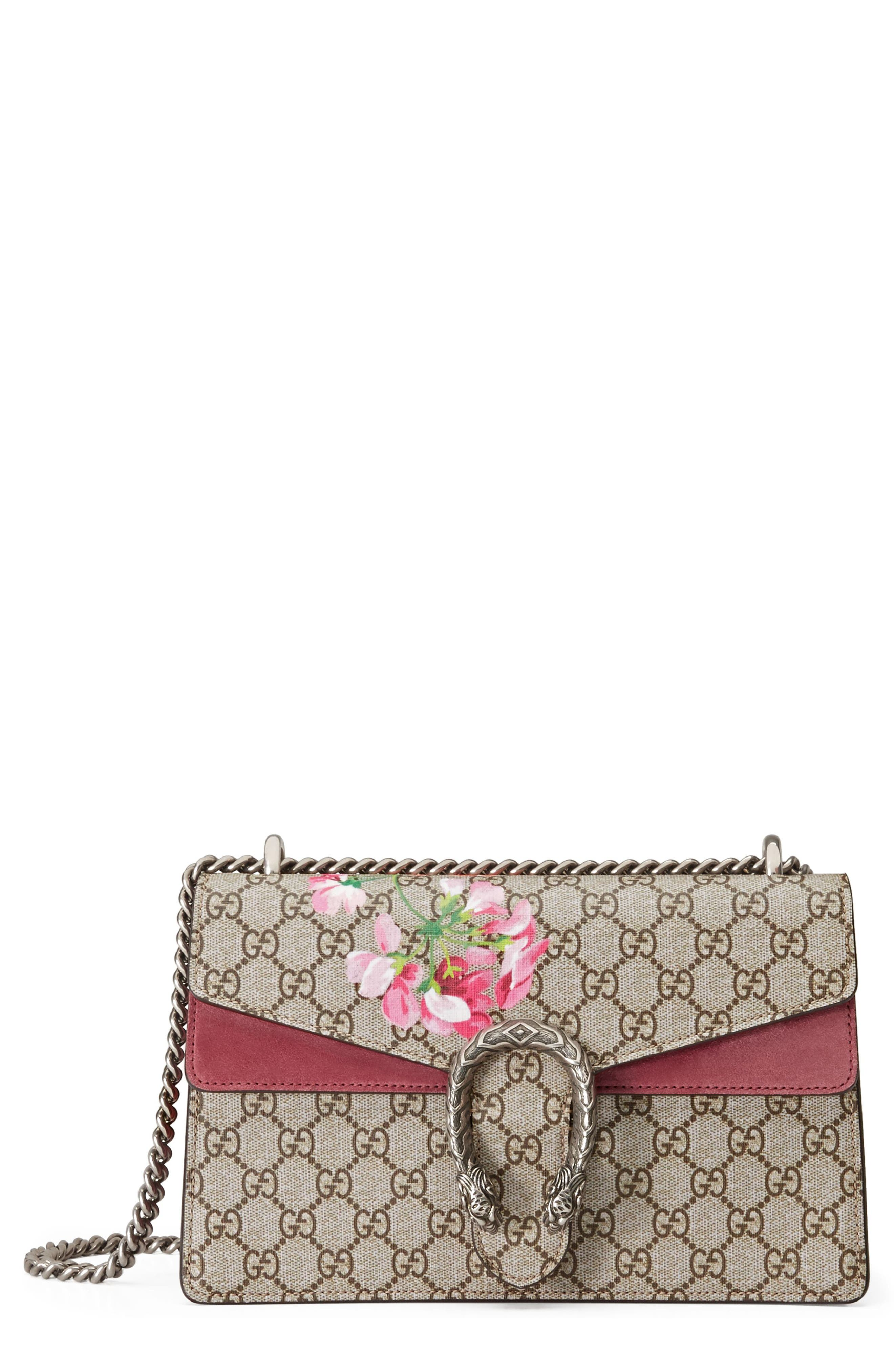 Small Dionysus Floral GG Supreme Canvas Shoulder Bag,                             Main thumbnail 1, color,                             Beige Ebony/ Dry Rose