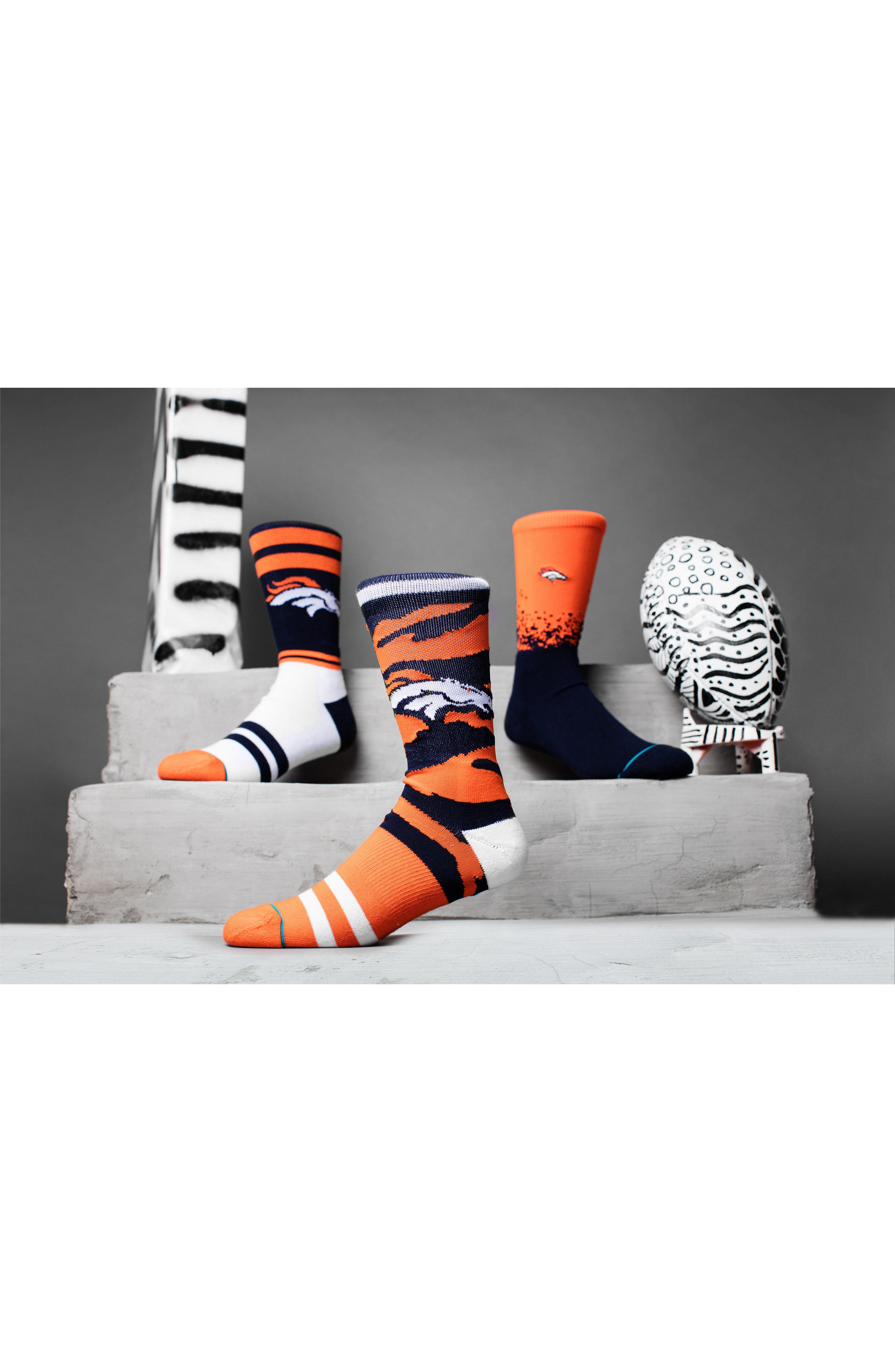 Denver Broncos - Fade Socks,                             Alternate thumbnail 3, color,                             Navy