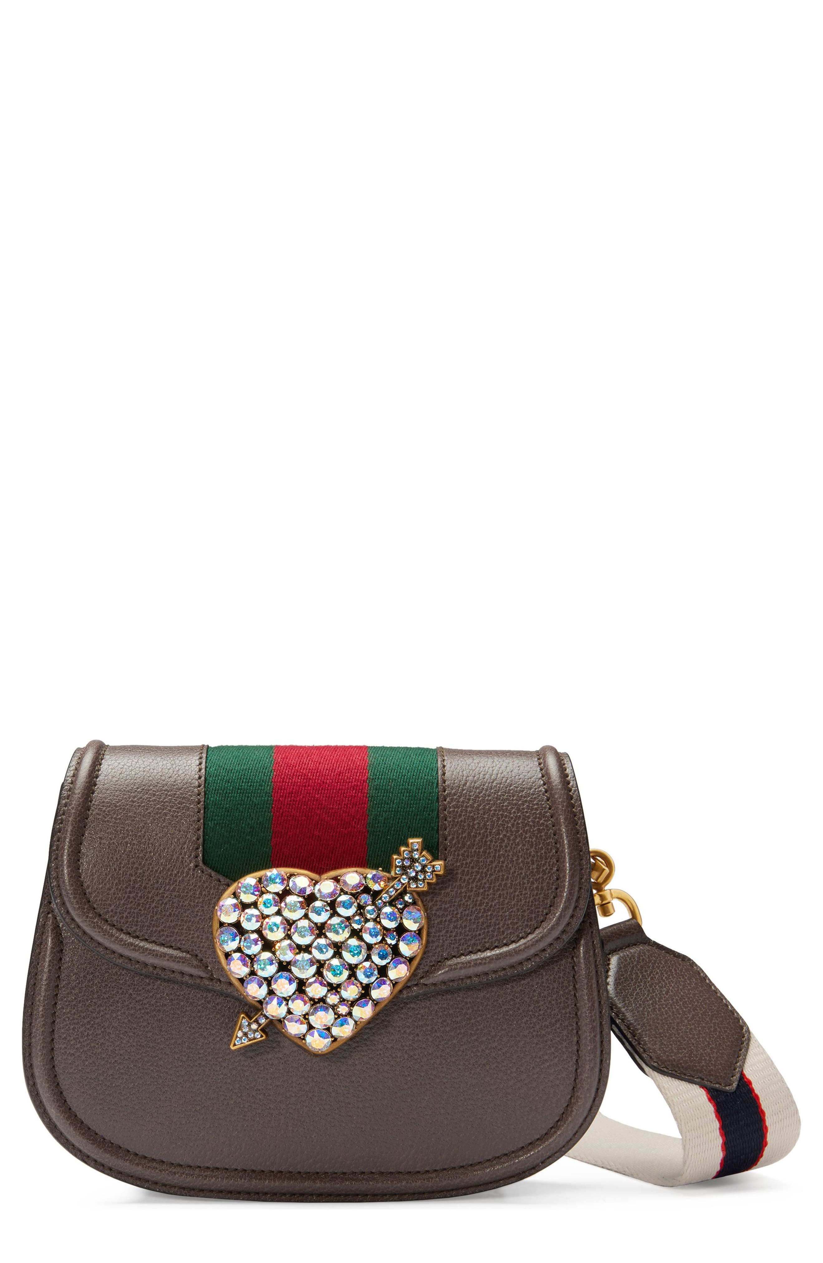 Small Linea Totem Crystal Heart Shoulder Bag,                             Main thumbnail 1, color,                             New Acero / Vert Red Vert