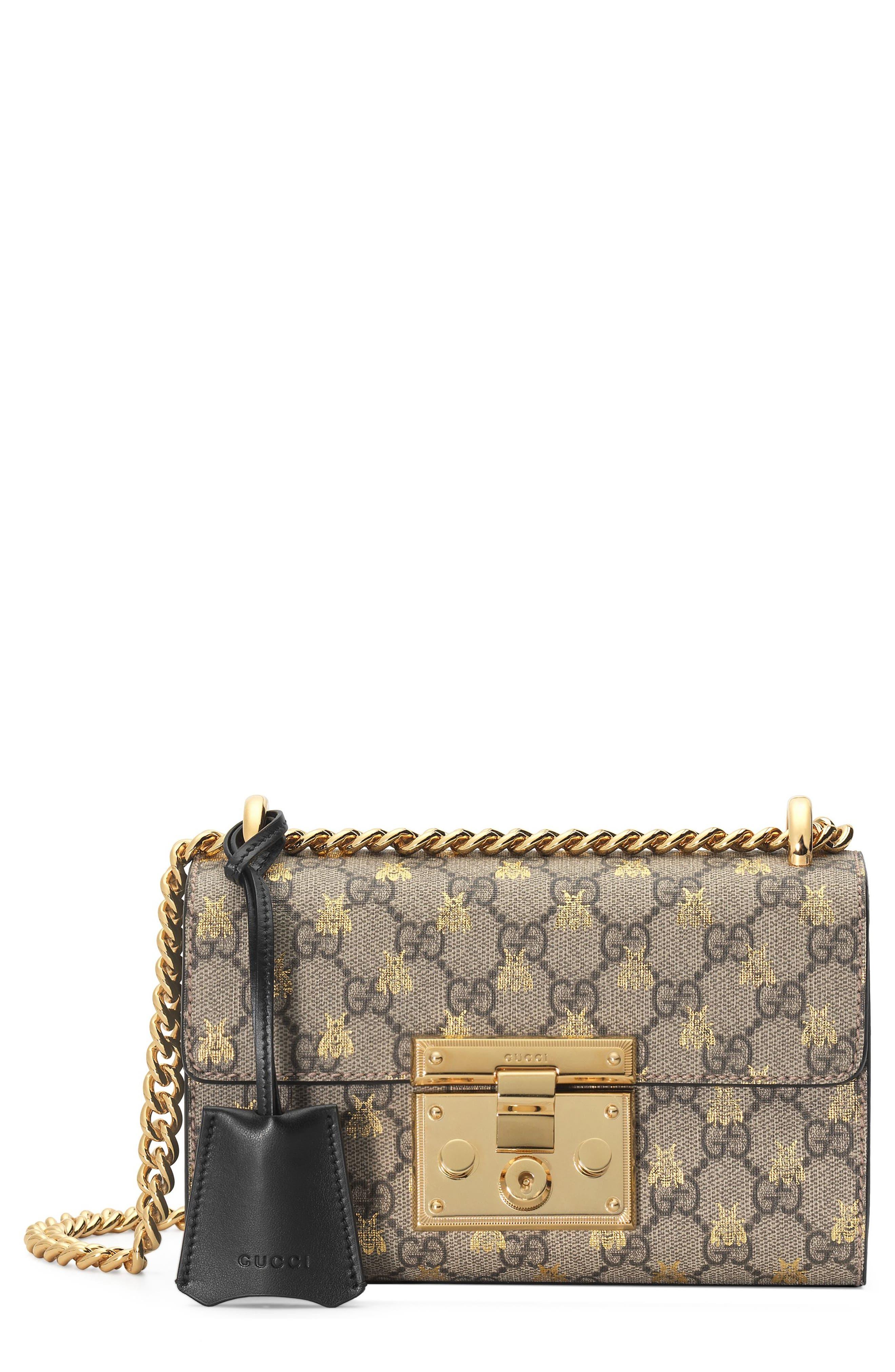 Small Padlock GG Supreme Bee Shoulder Bag,                         Main,                         color, Beige Ebony Oro/ Nero