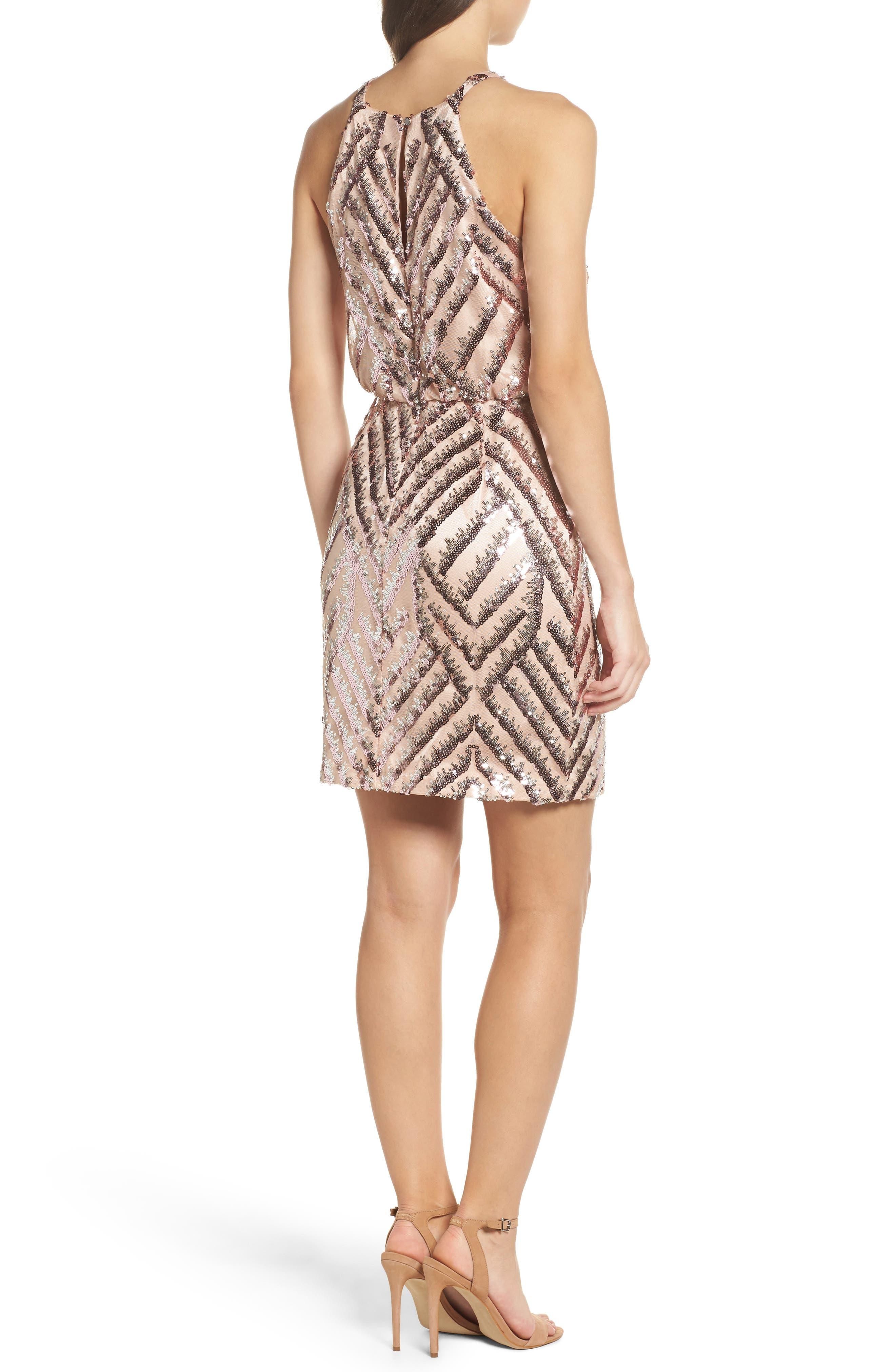 Sequin Blouson Dress,                             Alternate thumbnail 2, color,                             Pink