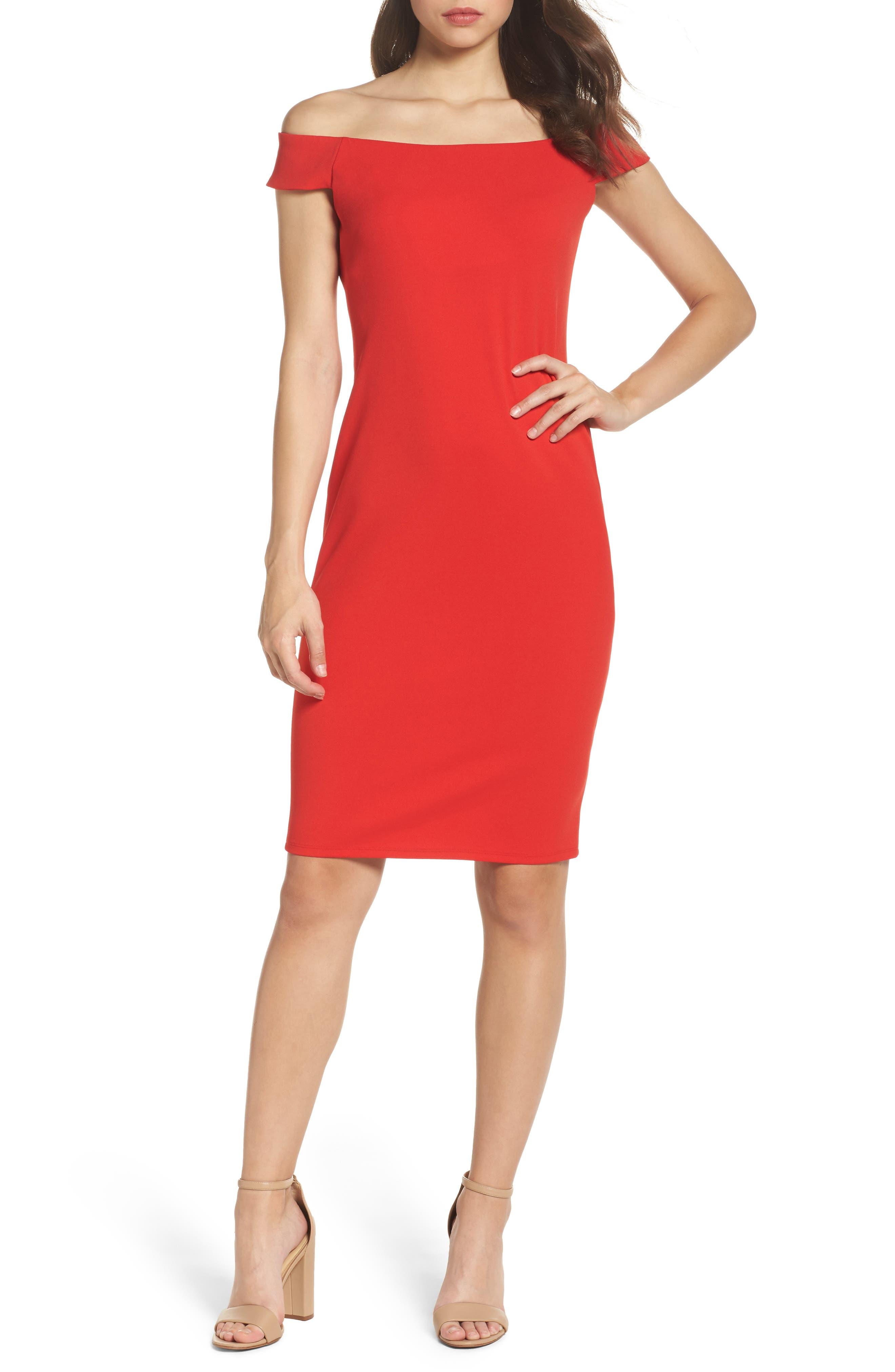 Off the Shoulder Sheath Dress,                         Main,                         color, Red